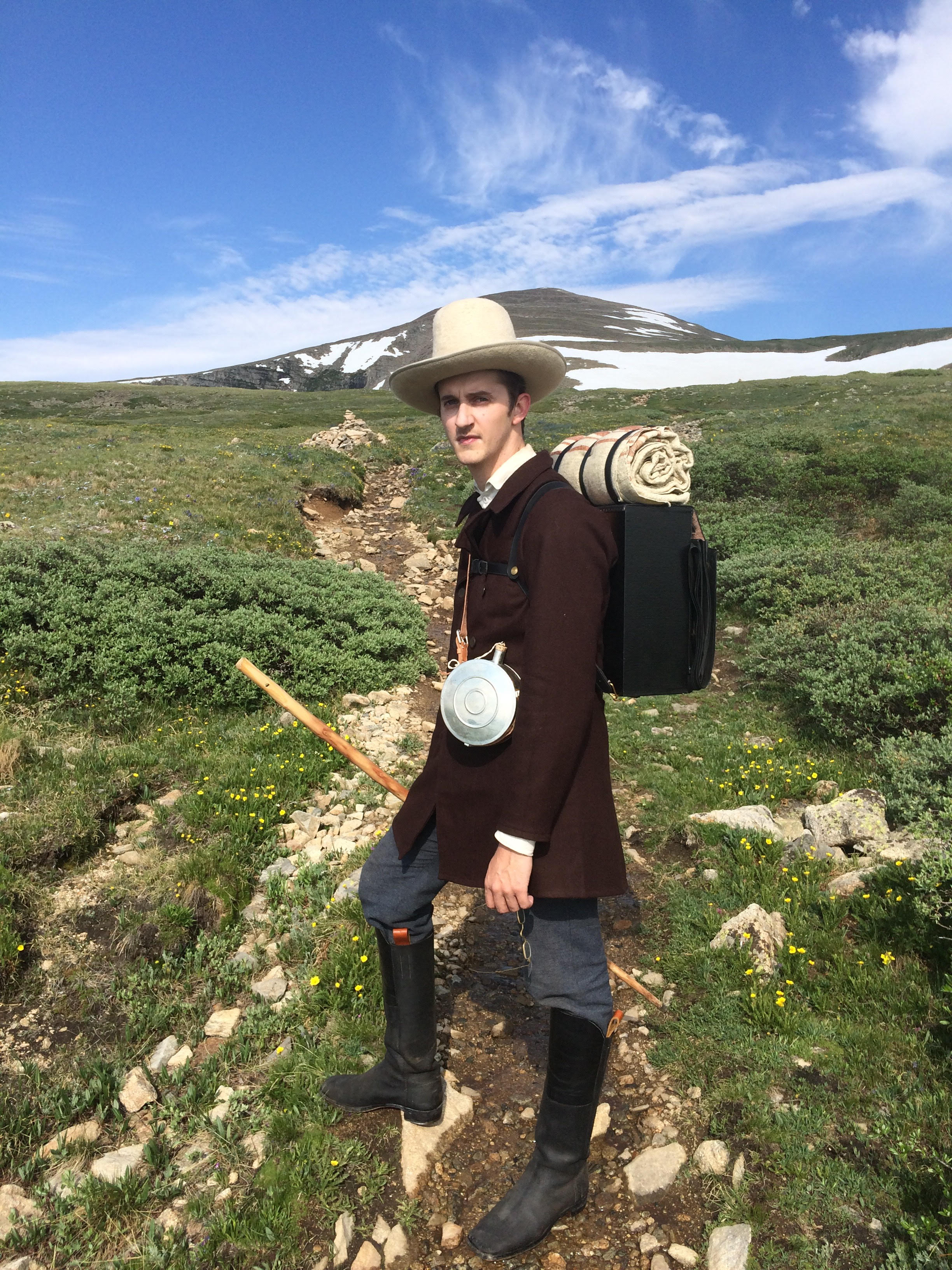 <p>Hiker Ben Jenkins modeled 19th-century style clothes before he started his hike on the Colorado Trail.</p>