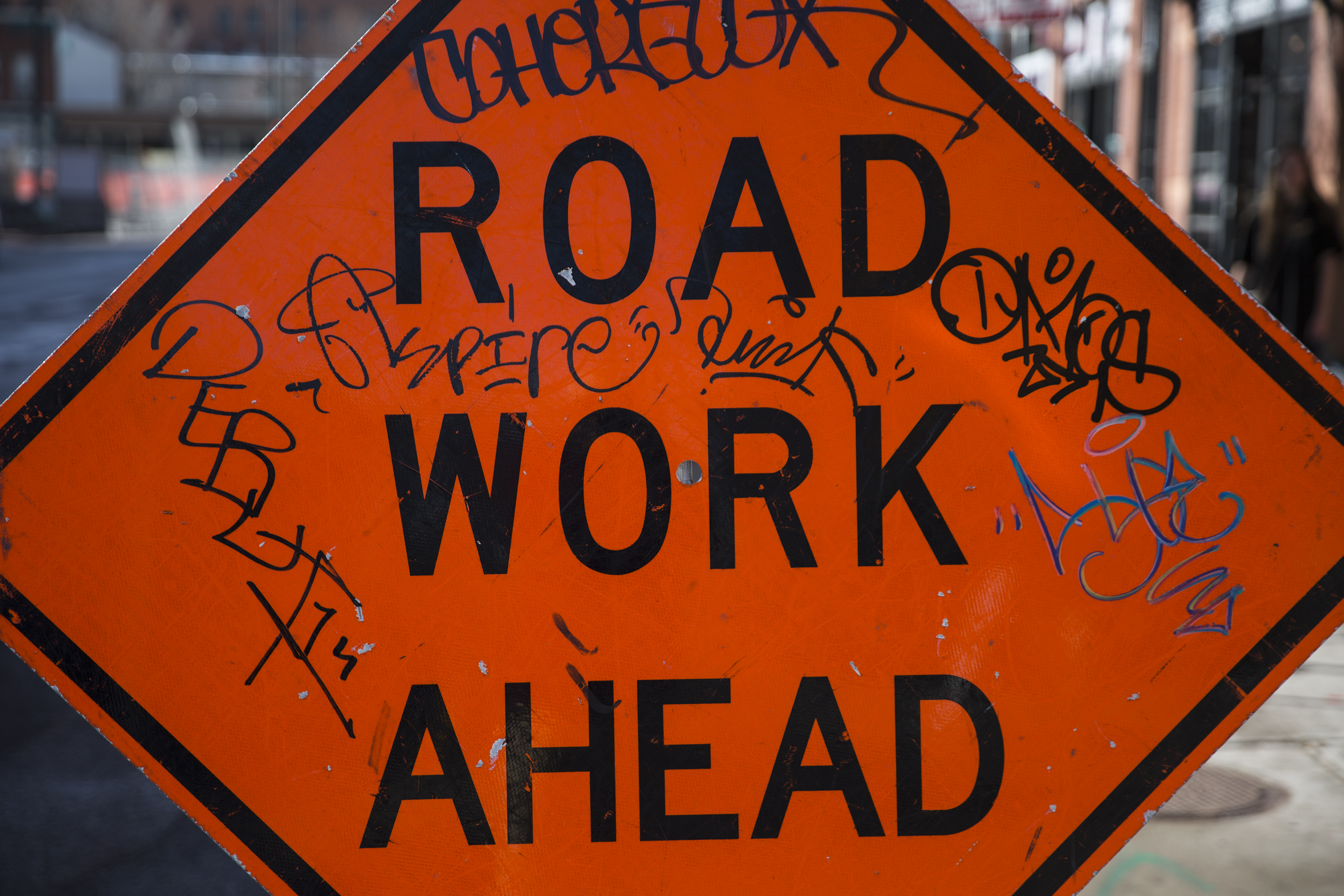 Photo: Road Work Ahead Sign
