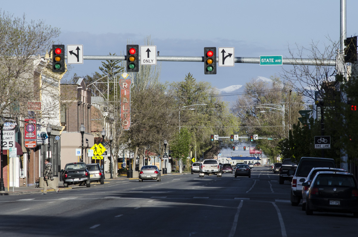 Downtown Alamosa, which is the economic hub of the San Luis Valley in south-central Colorado.