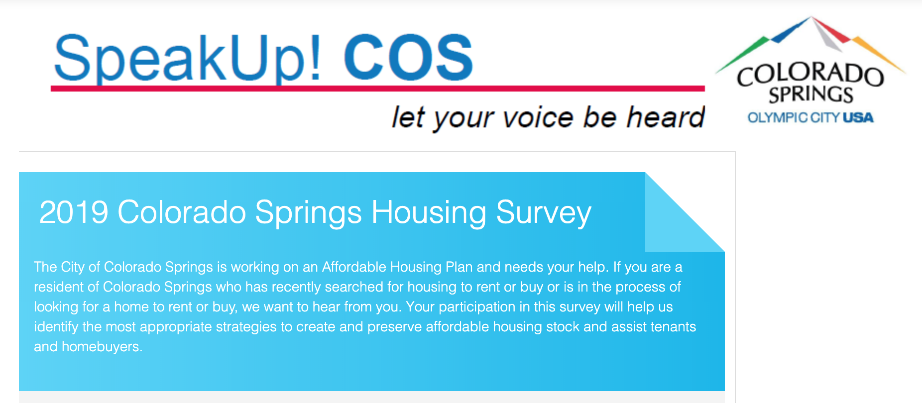 Screenshot from the Colorado Springs online housing survey