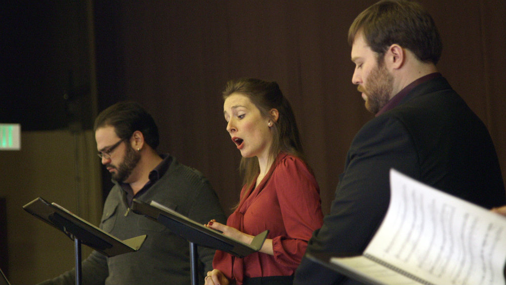"""<p>Daniel DeVicente, Leah Bobbey and Brett Sprague sing at aconcert reading of Opera Colorado's upcoming production of """"The Scarlet Letter.""""</p>"""