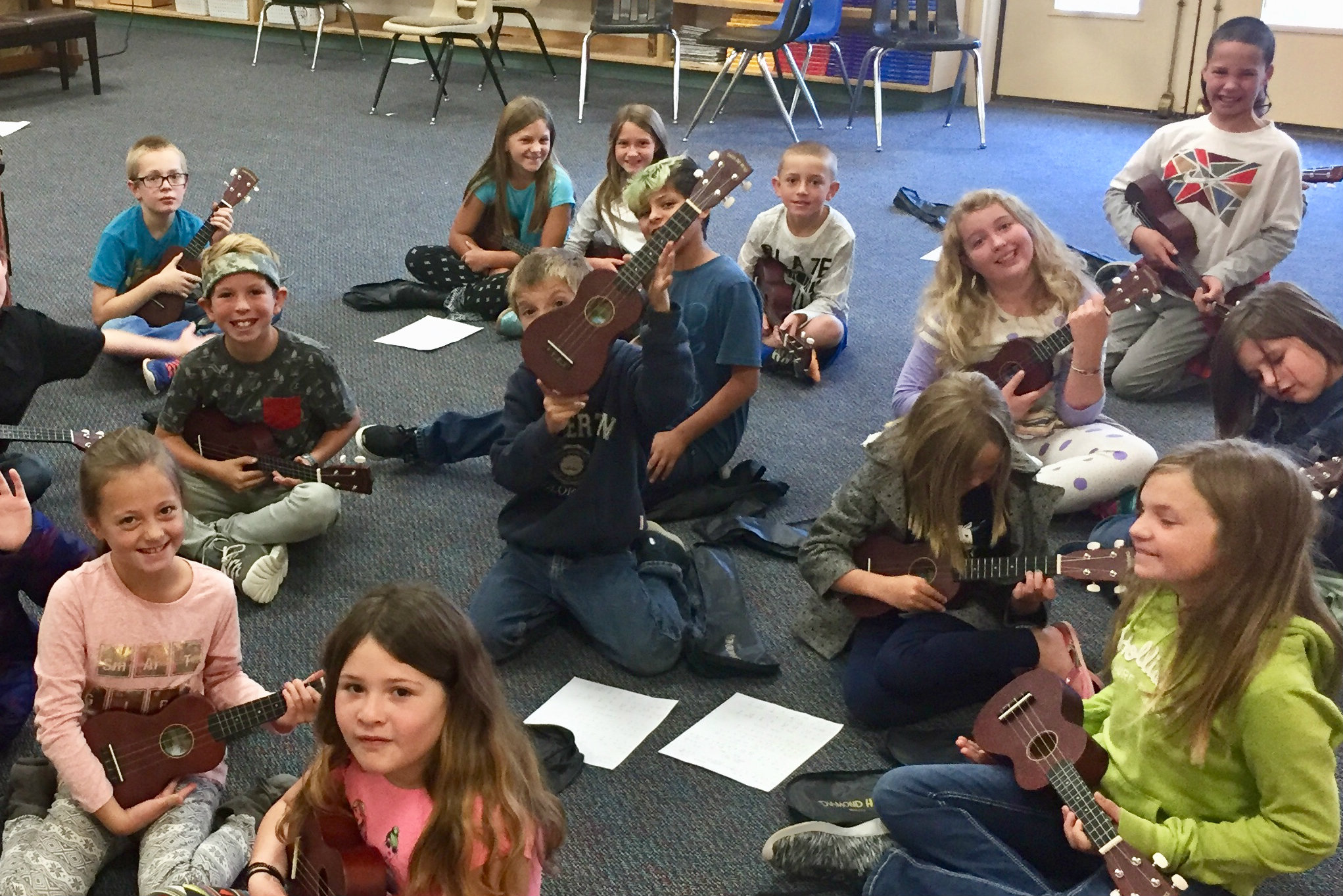 <p>The ukulele club at Fort Lewis Mesa Elementary School with their school instruments donated by the Bringing Music to Life Instrument Drive.</p>