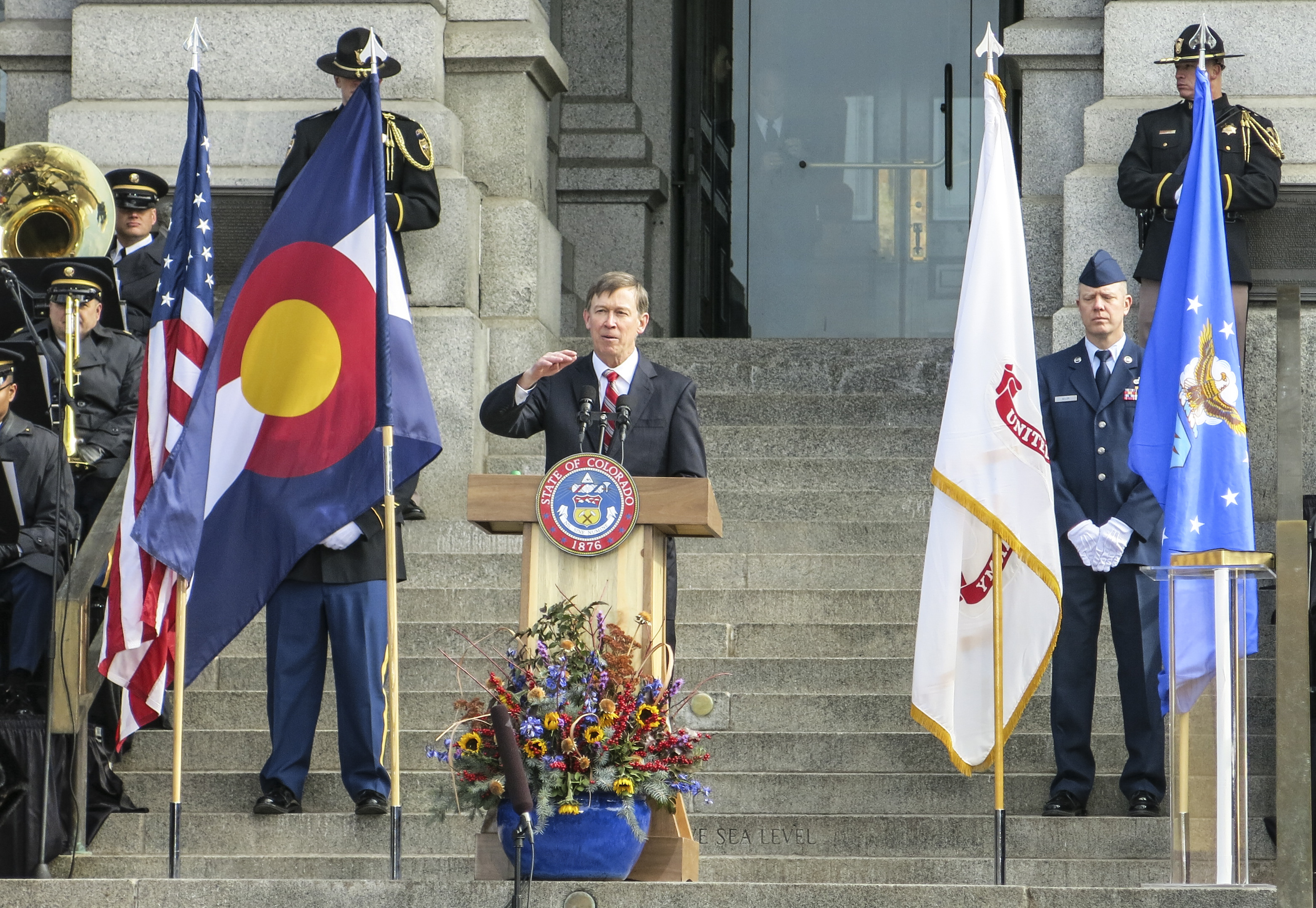 Photo: Gov. John Hickenlooper gives inaugural address