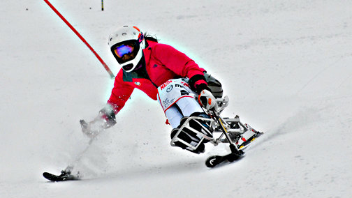 Photo: Alana Nichols competing in the 2014 Wells Fargo Cup sit ski race