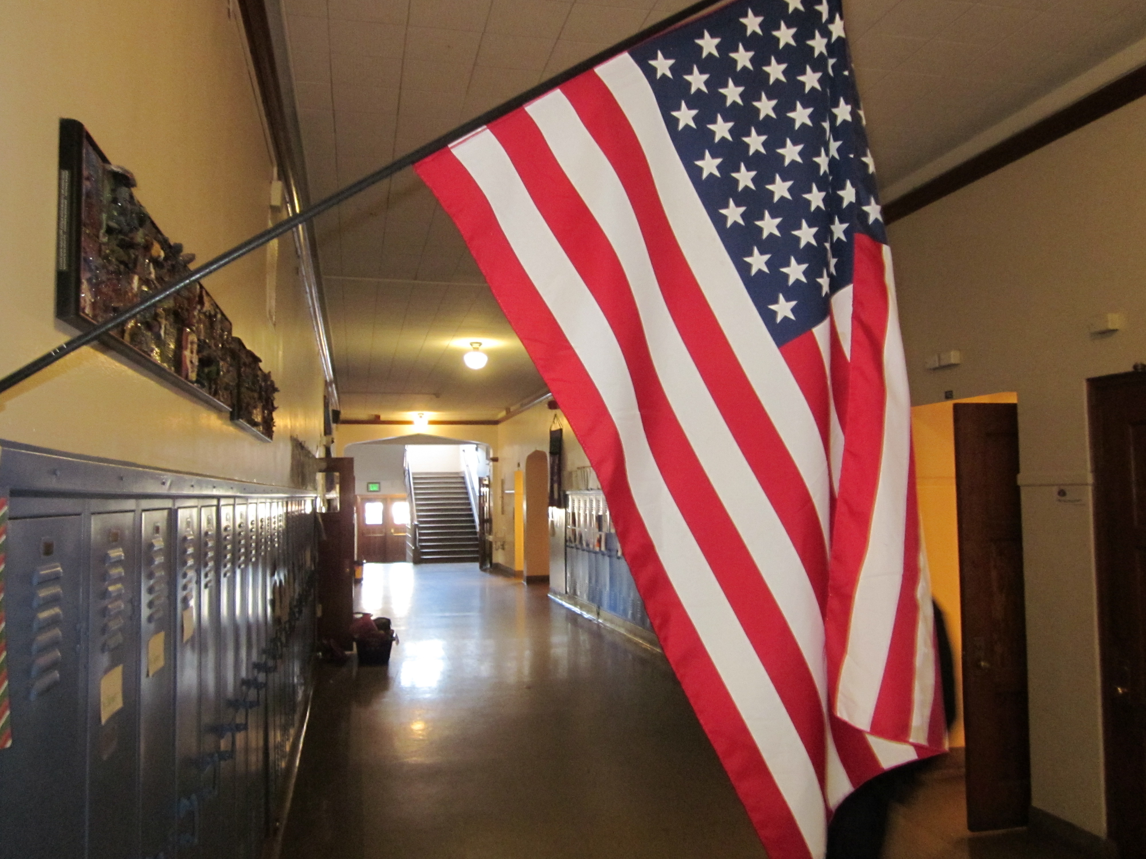 Photo: School hallway, flag