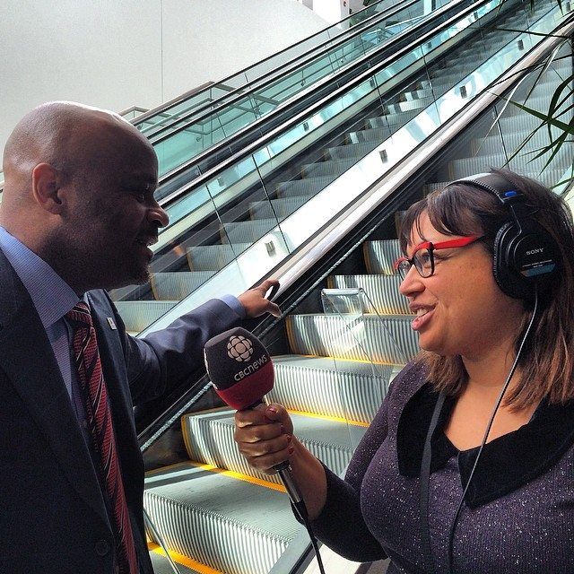 Photo: Ange-Aimée Woods interviews Denver Mayor Michael Hancock