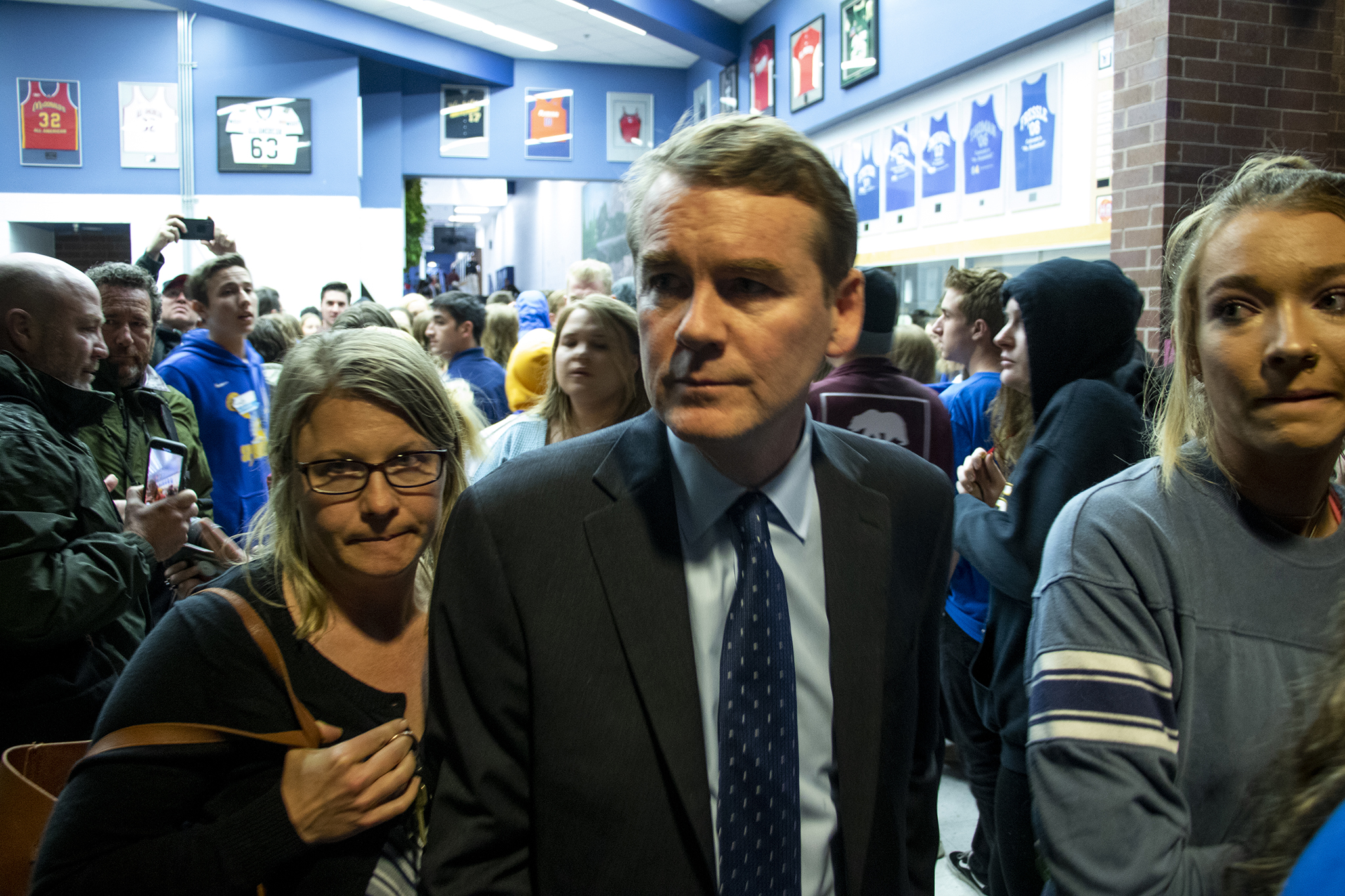 Photo: Sen. Michael Bennet at a chaotic vigil after STEM School Highlands Ranch shooting