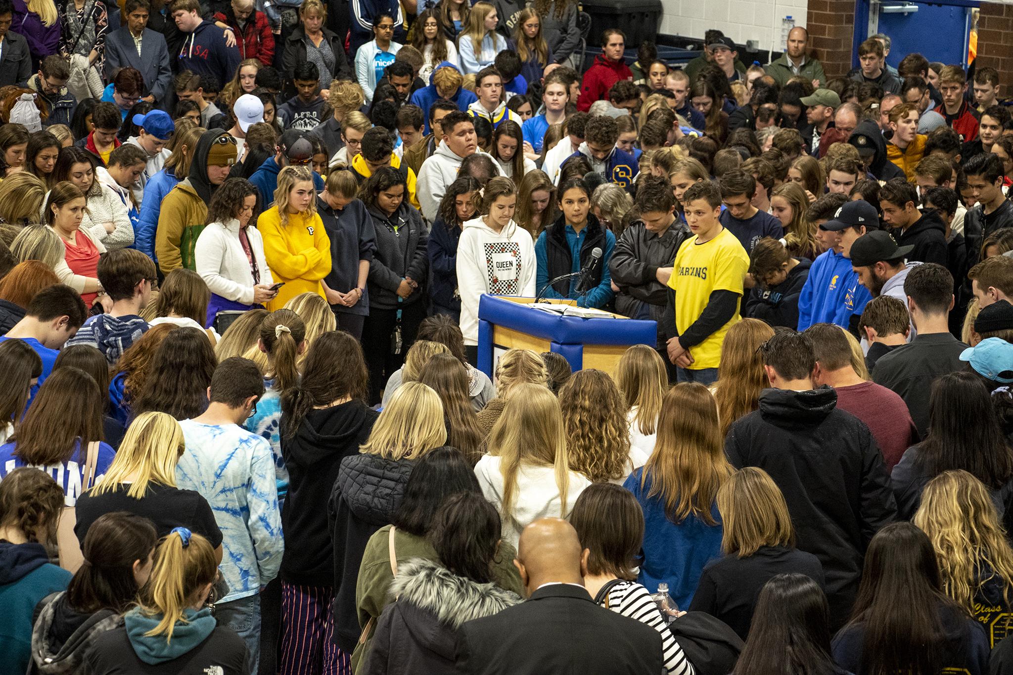 Photo: STEM School Highlands Ranch shooting vigil - students at mic