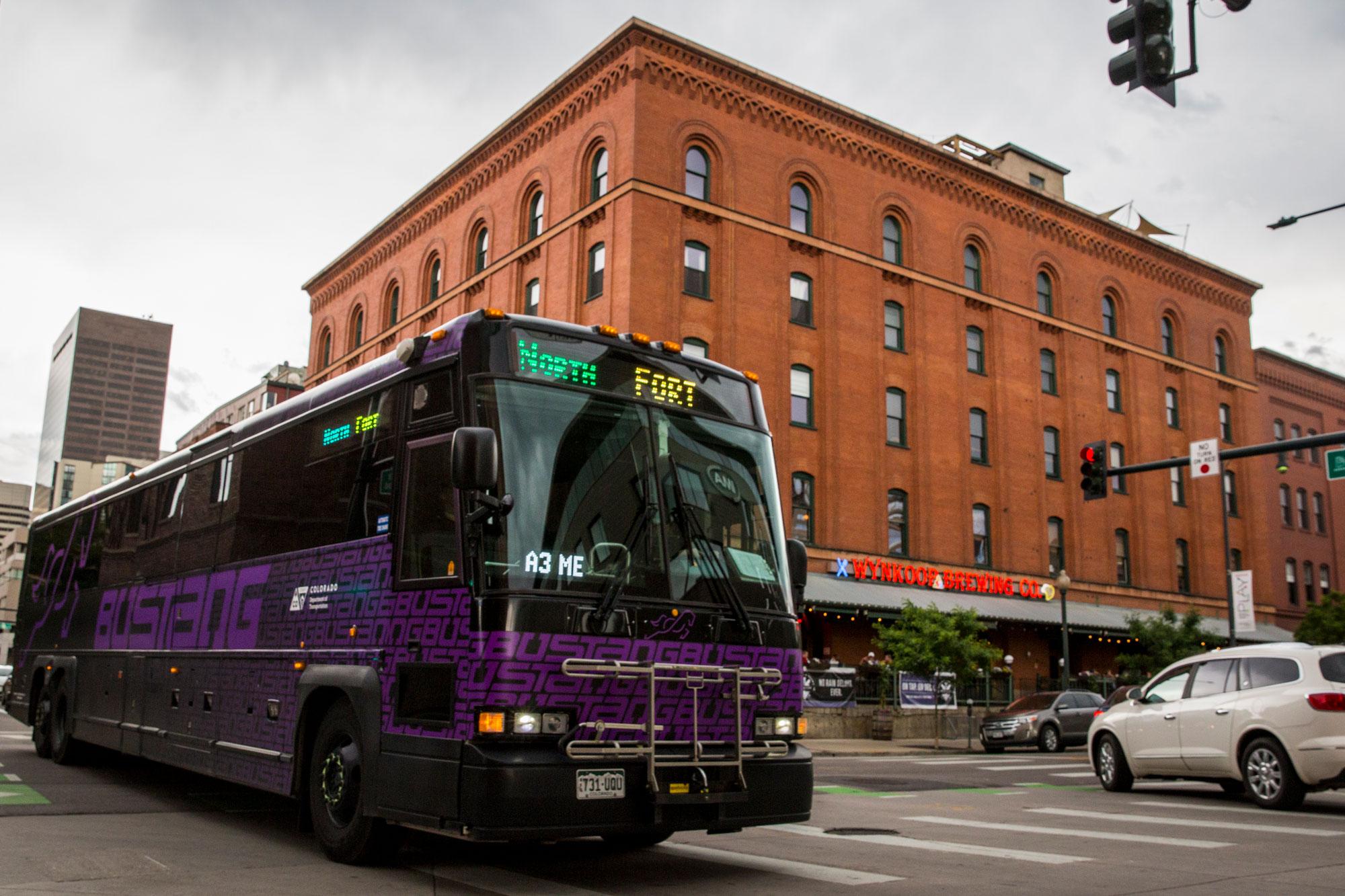 A Bustang passenger bus in downtown Denver Thursday, June 13, 2019.