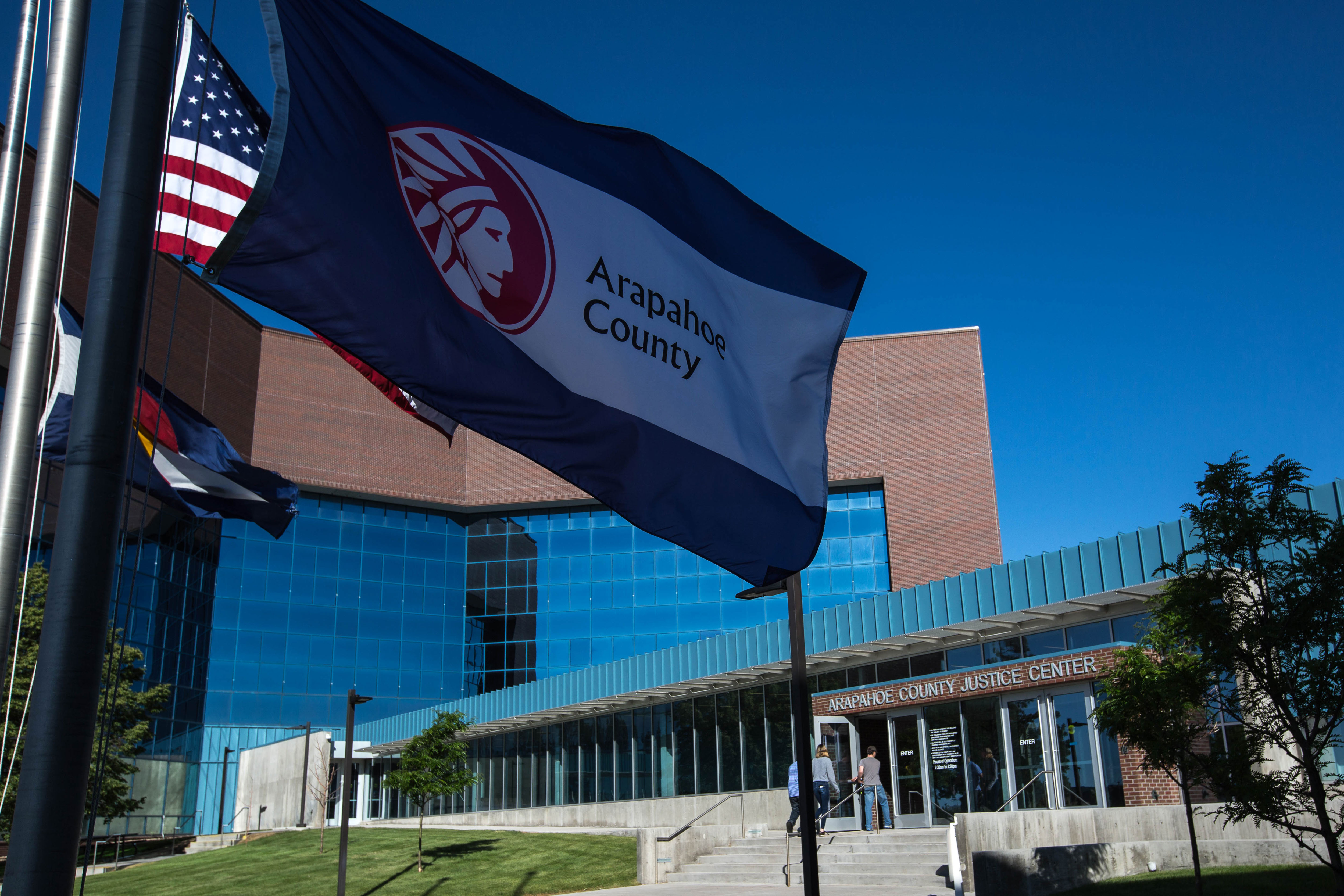 Photo: Arapahoe County Justice Center 1 | Flags & Main Entrance - HVD