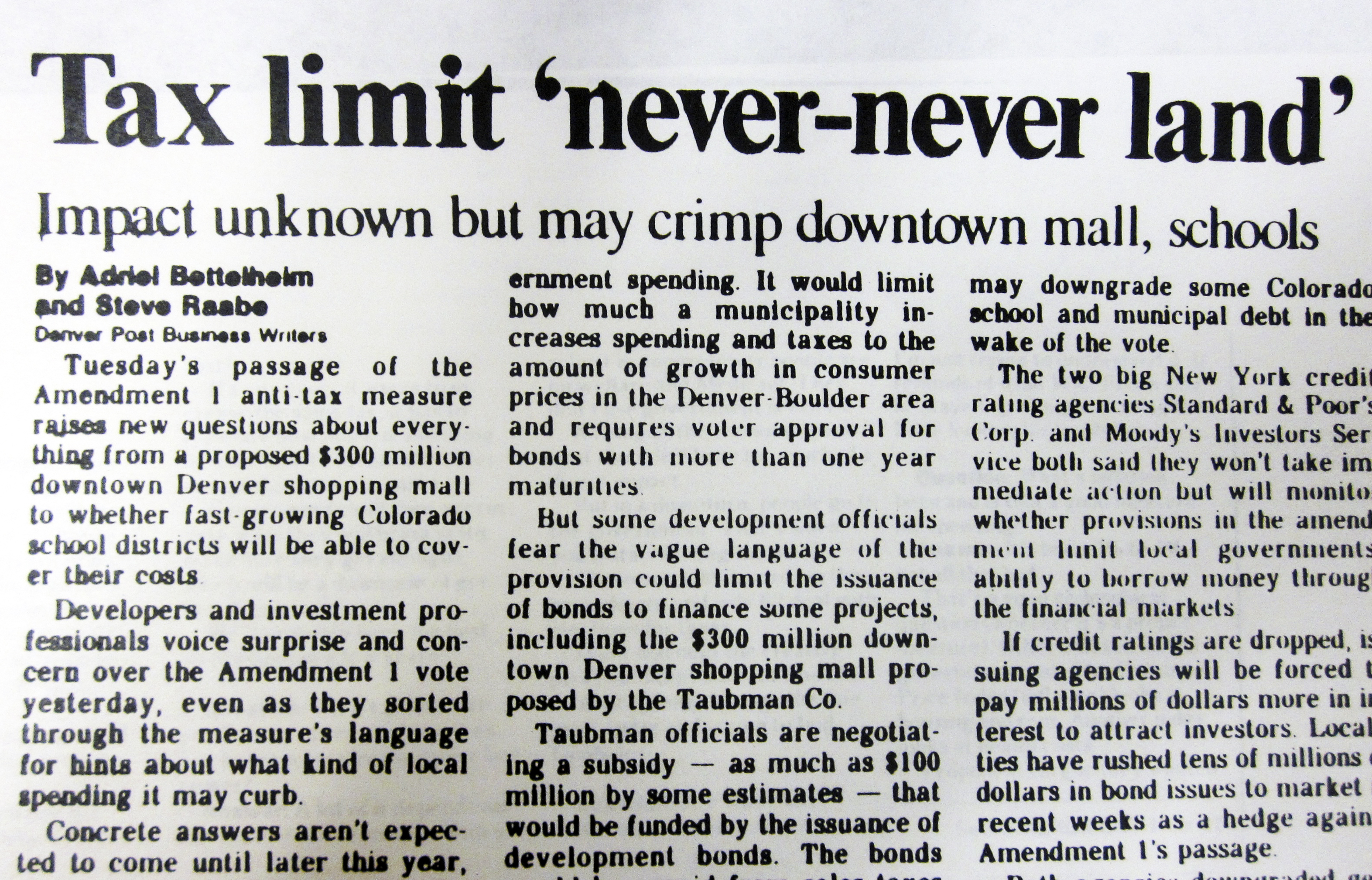 Photo: 1992 Post article on TABOR