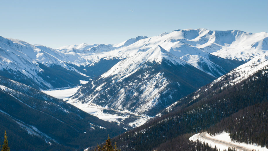 Snowcapped mountains in Berthoud Pass, Colorado.