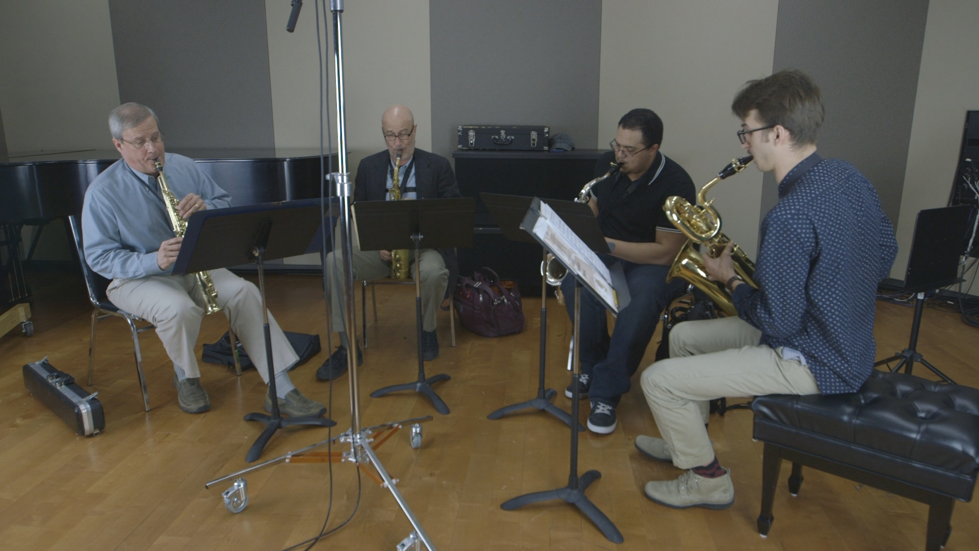 Photo: Lamont Saxophone Quartet in the CPR Performance Studio