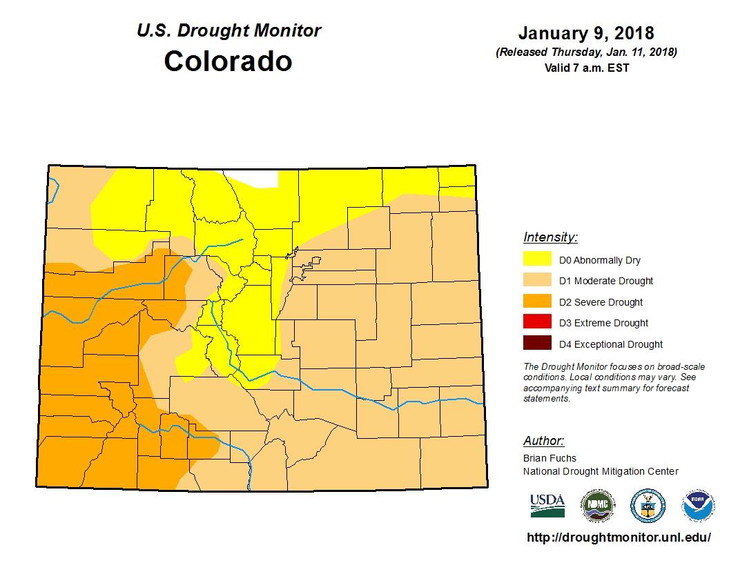 Photo; Drought Monitor Colorado w Text | Jan 9 2018 - USDA