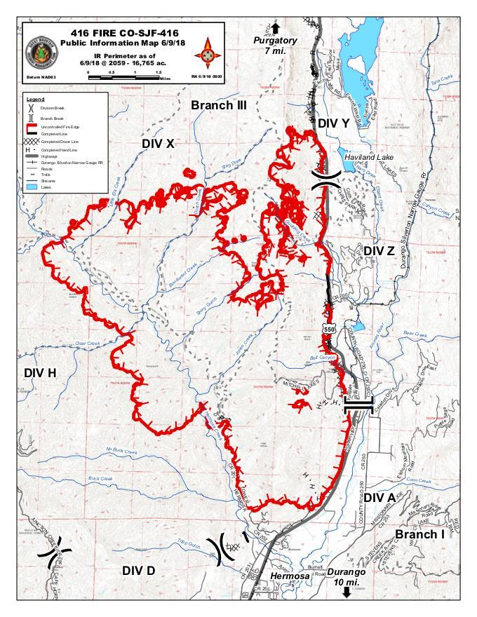 Graphic: 416 Fire Map Inciweb June 9