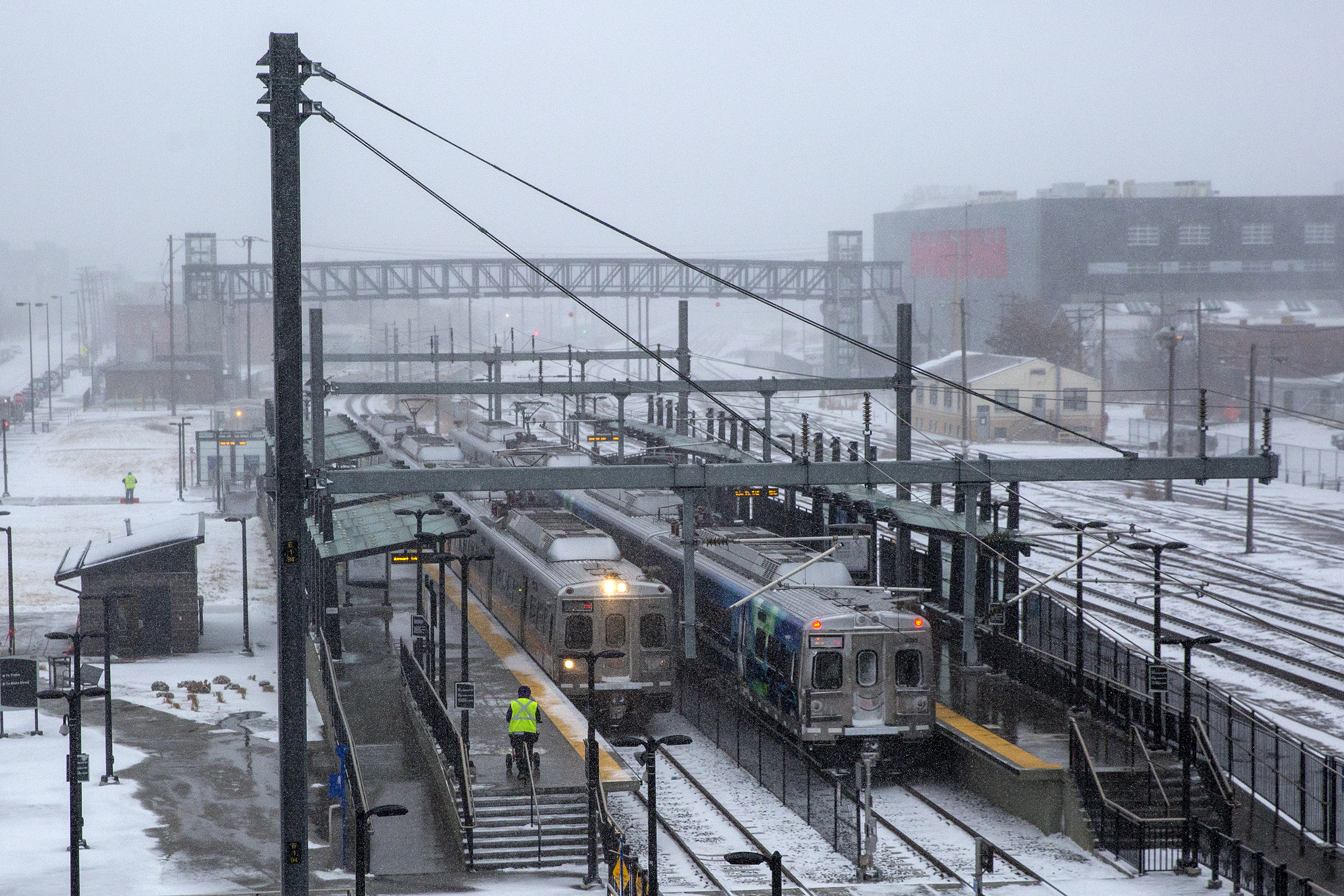 Photo: A Line RTD Commuter Rail 38th Street Station Snow 1 HV 20190124