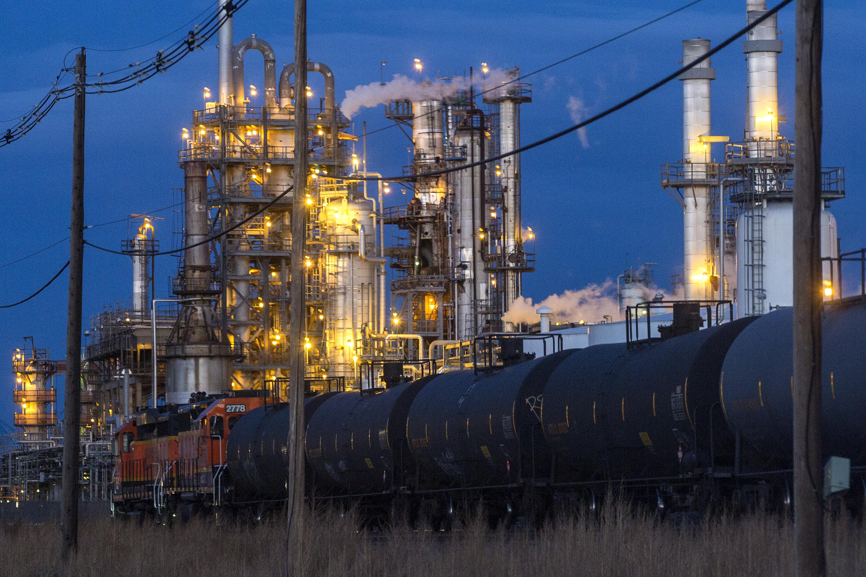 Part of the SuncorEnergy refinery at night, Jan. 23, 2019.