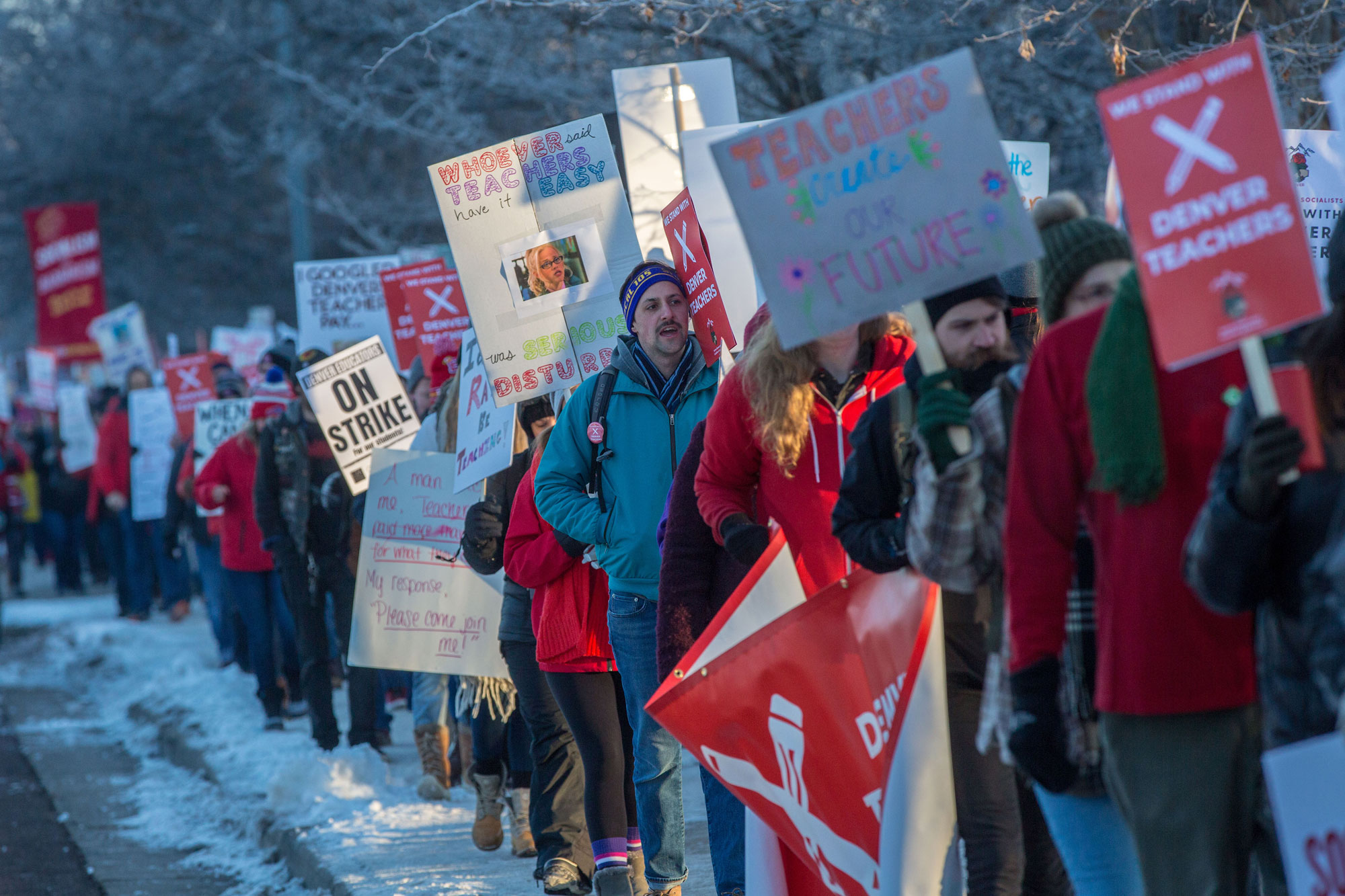 Photo: Denver Teacher Strike Monday 10 | Picket Line At East High - HVD