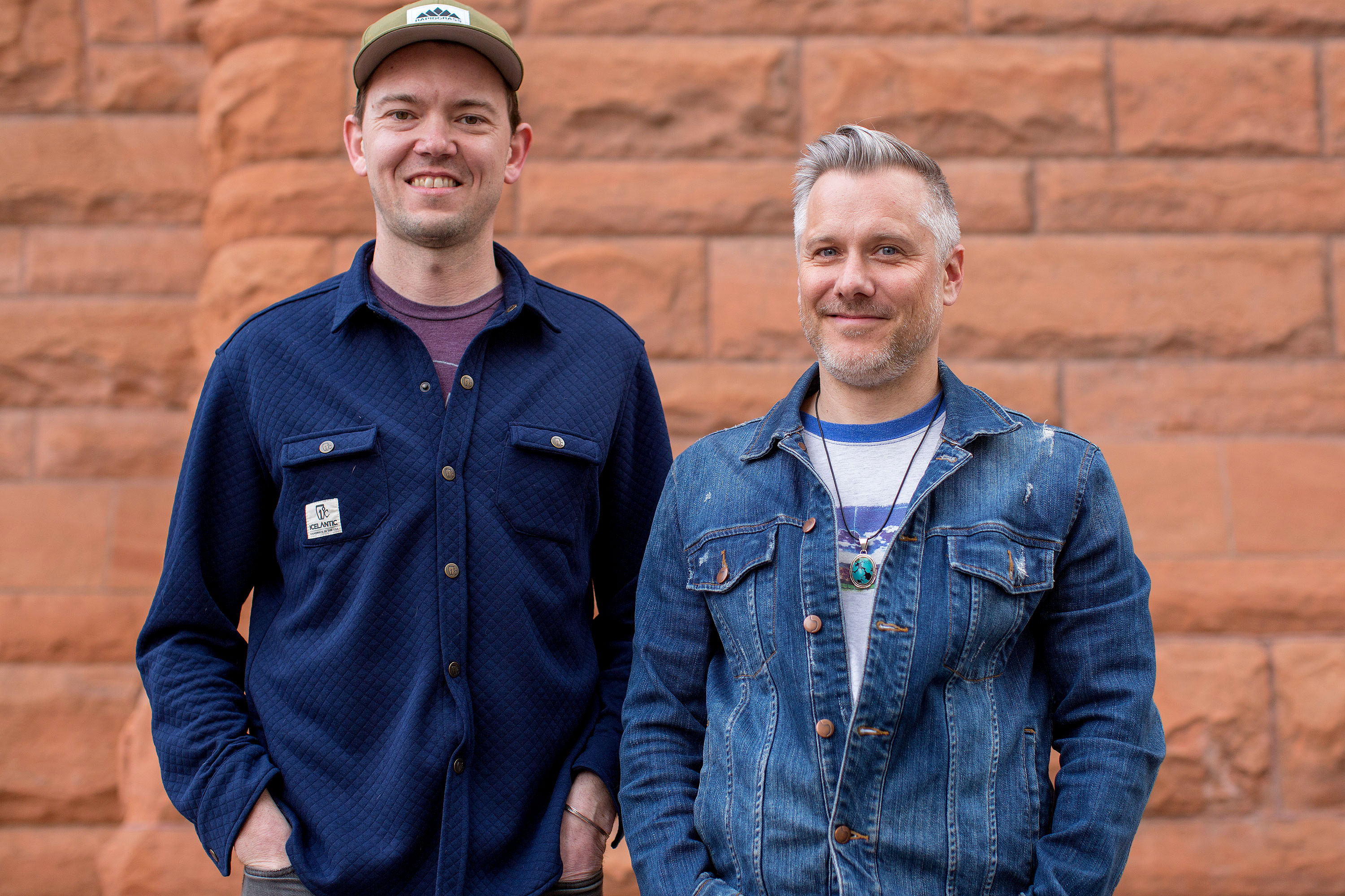 <p>Chris Pandolfi, left, and Andy Hall of the Infamous Stringdusters, photographed in Denver March 18, 2019.</p>