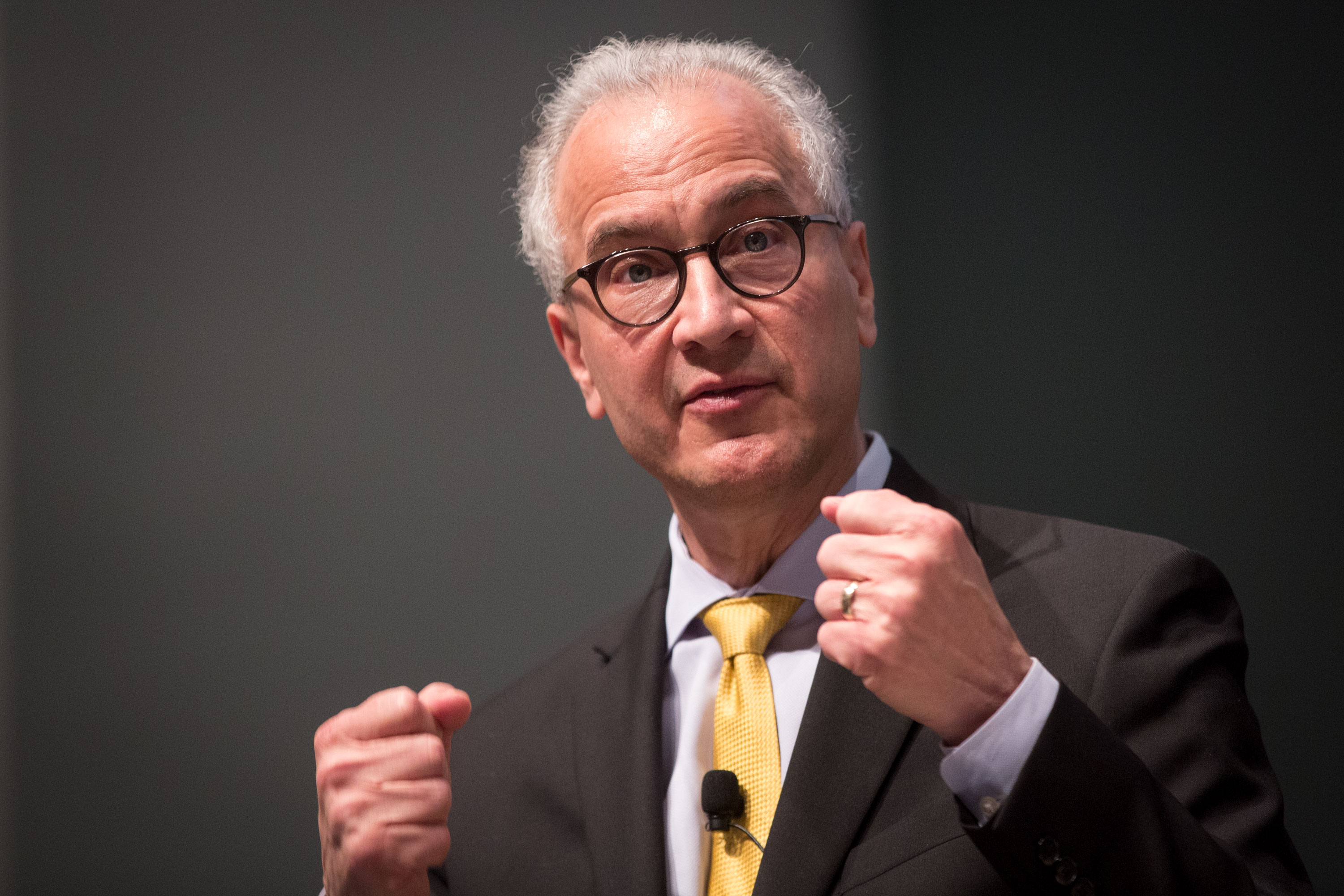 Mark Kennedy answers audience questions Wednesday April 24, 2019 at the CU Anschutz Medical Campus. Kennedy is the only finalist for the position of president at the University of Colorado. He's visiting all the campuses in the university system.