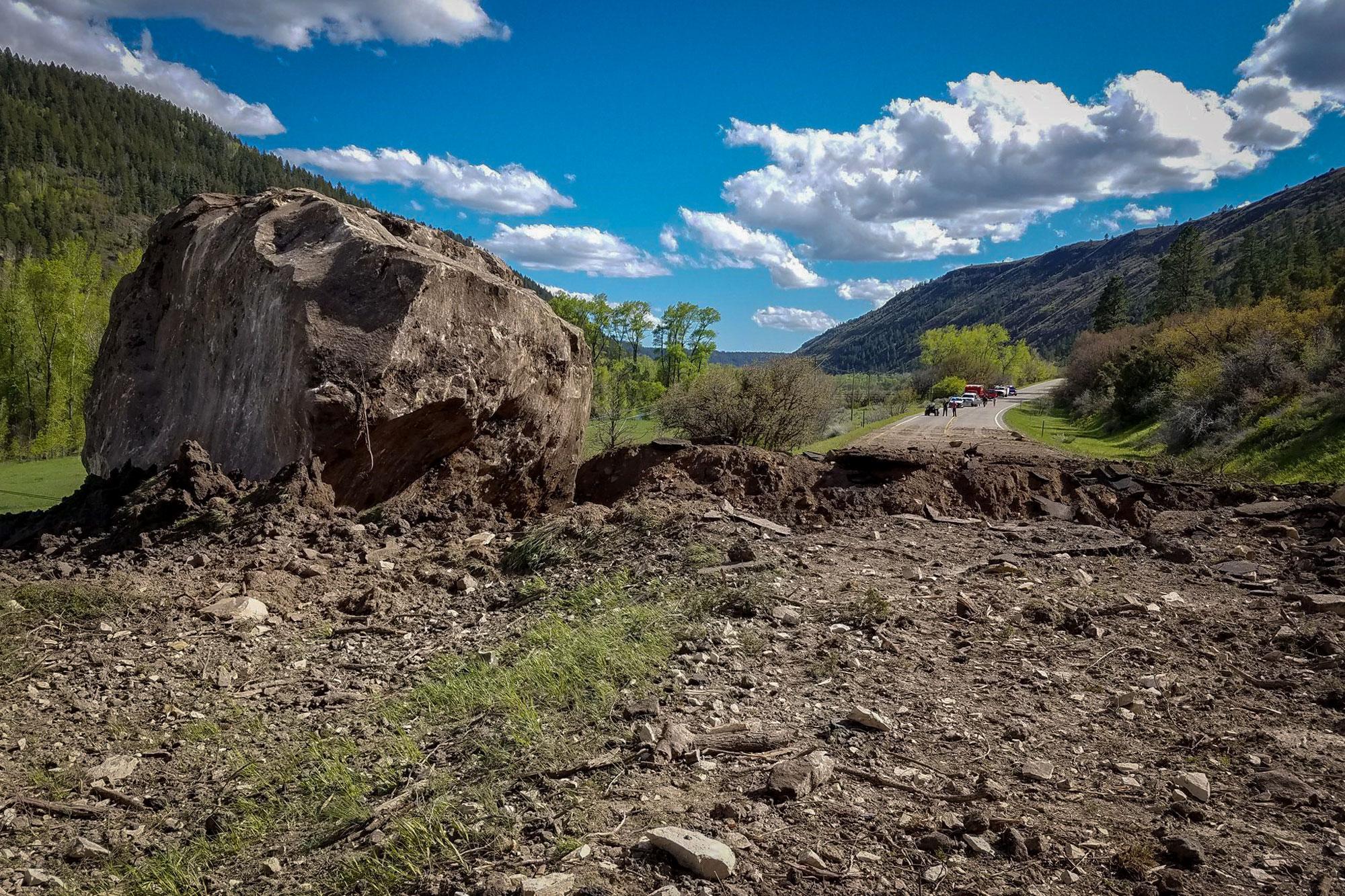 Photo: Memorial Weekend Rockslide | Giant Boulder Hwy 145 - CDOT