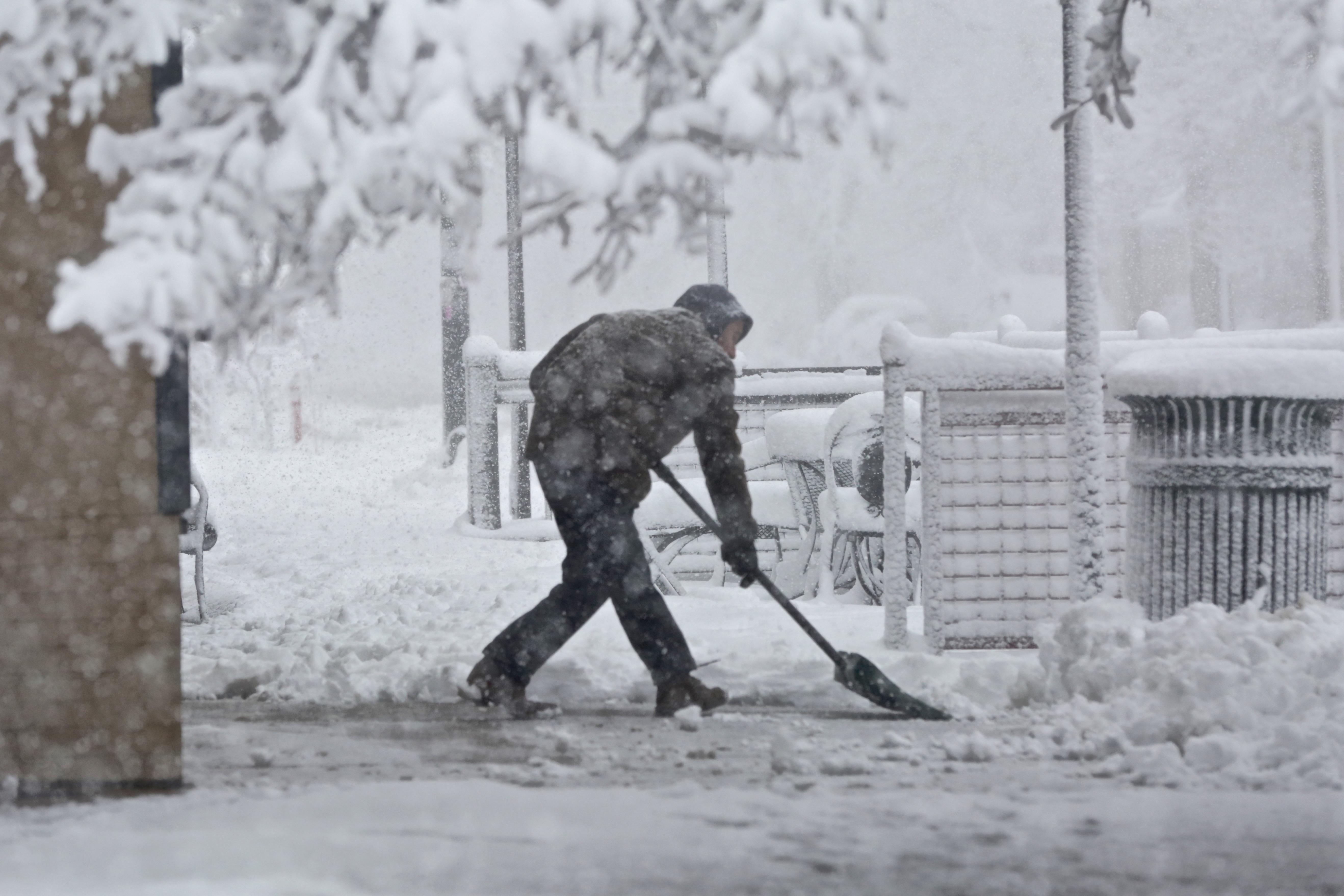 Photo: Shoveling Snow On 23rd Avenue Denver March 23 2016
