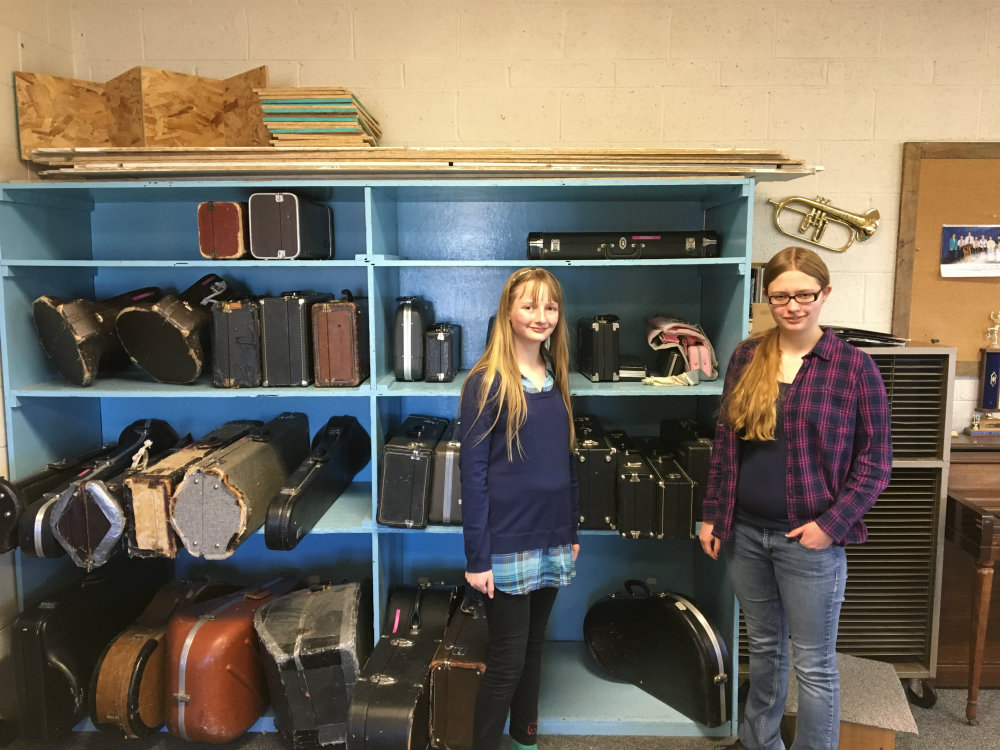 Photo: Nelson Sisters in Karval School Band Room