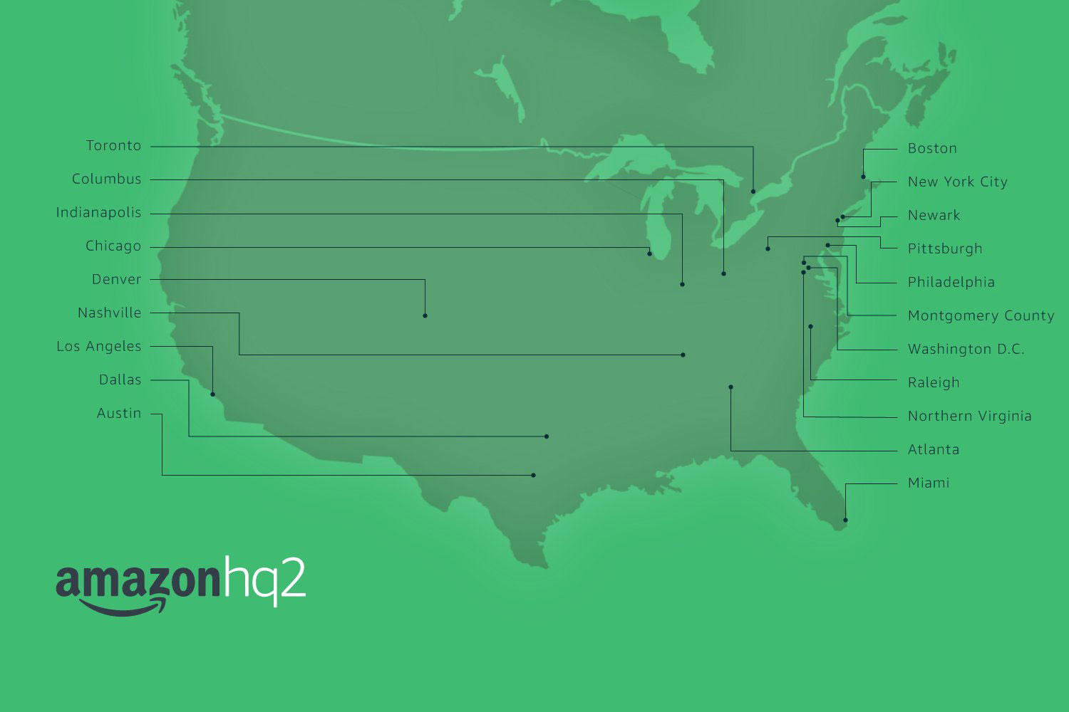 Photo: Amazon HQ2 Finalist Map - Courtesy