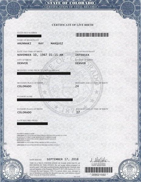 Photo: Anunnaki Ray Marquez Intersex Birth Certificate