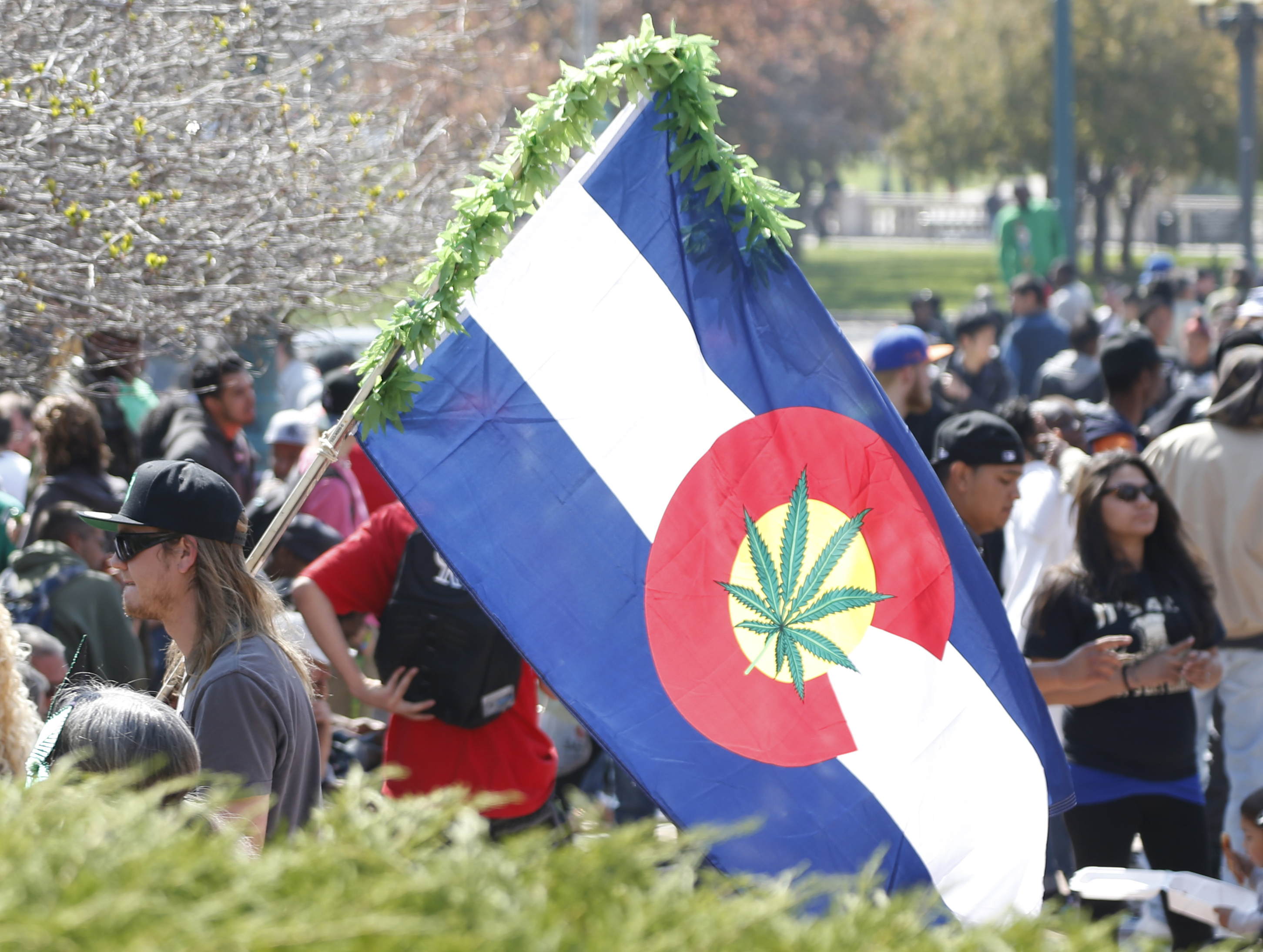 Photo: Marijunana 4/20 Day Denver Weed On State Flag (AP)