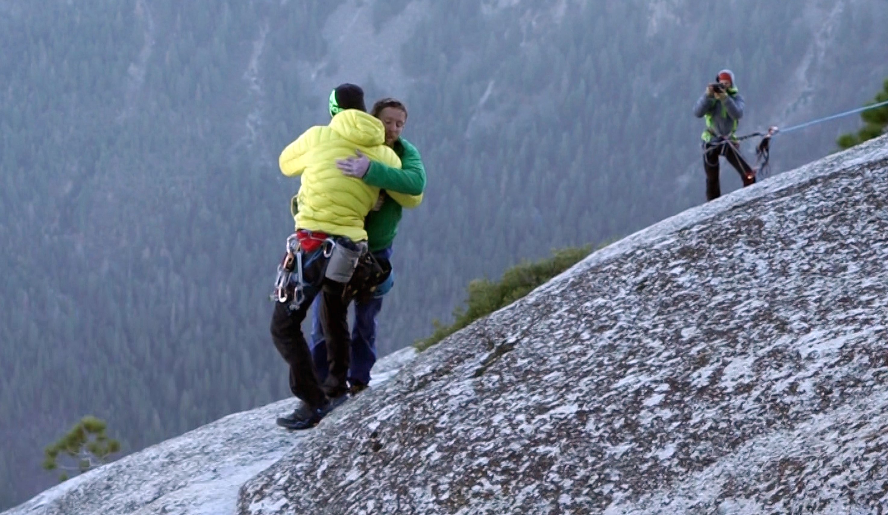 Photo: Kevin Jorgensen and Tommy Caldwell embrace
