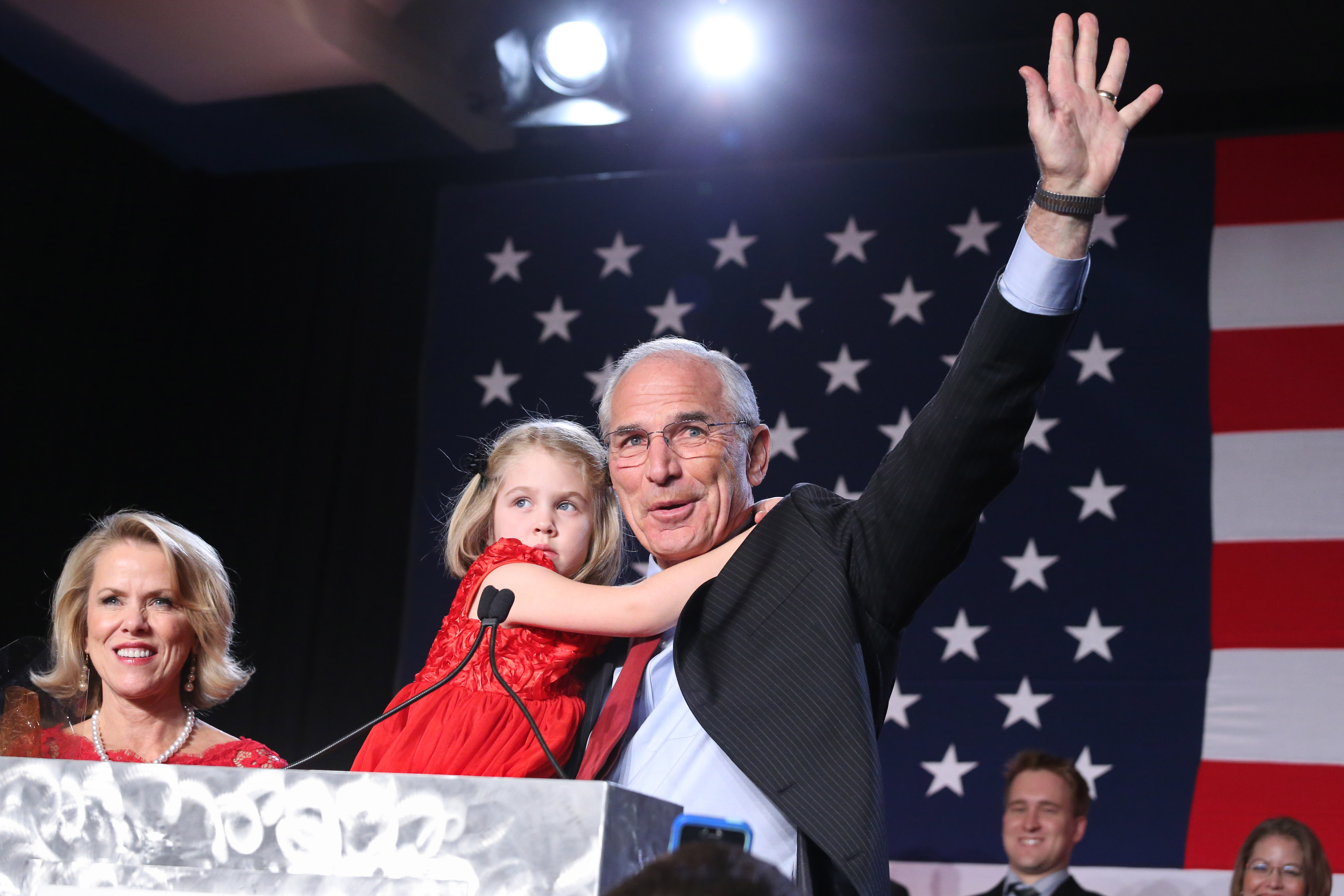 Photo: Bob Beauprez waves on Election Night (AP Photo)