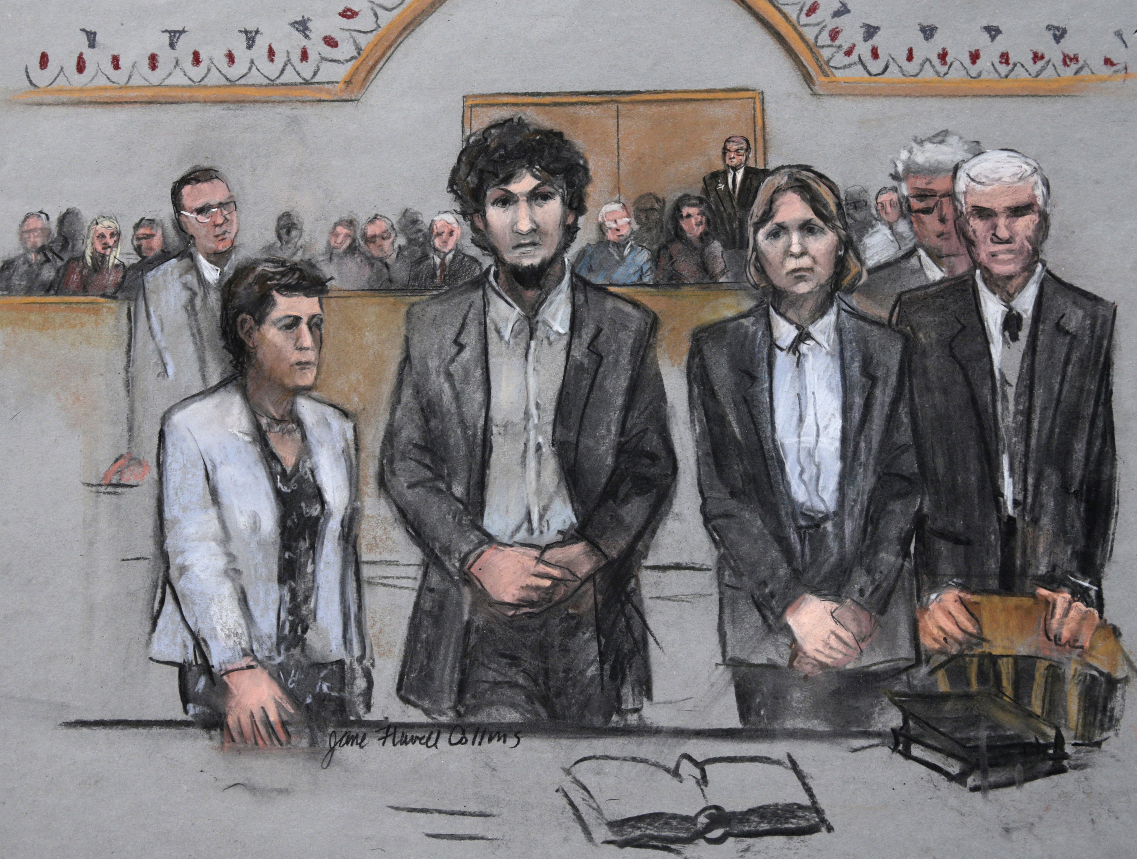 Photo: Boston Marathon bomber Dzhokhar Tsarnaev, sketch, sentencing (AP)