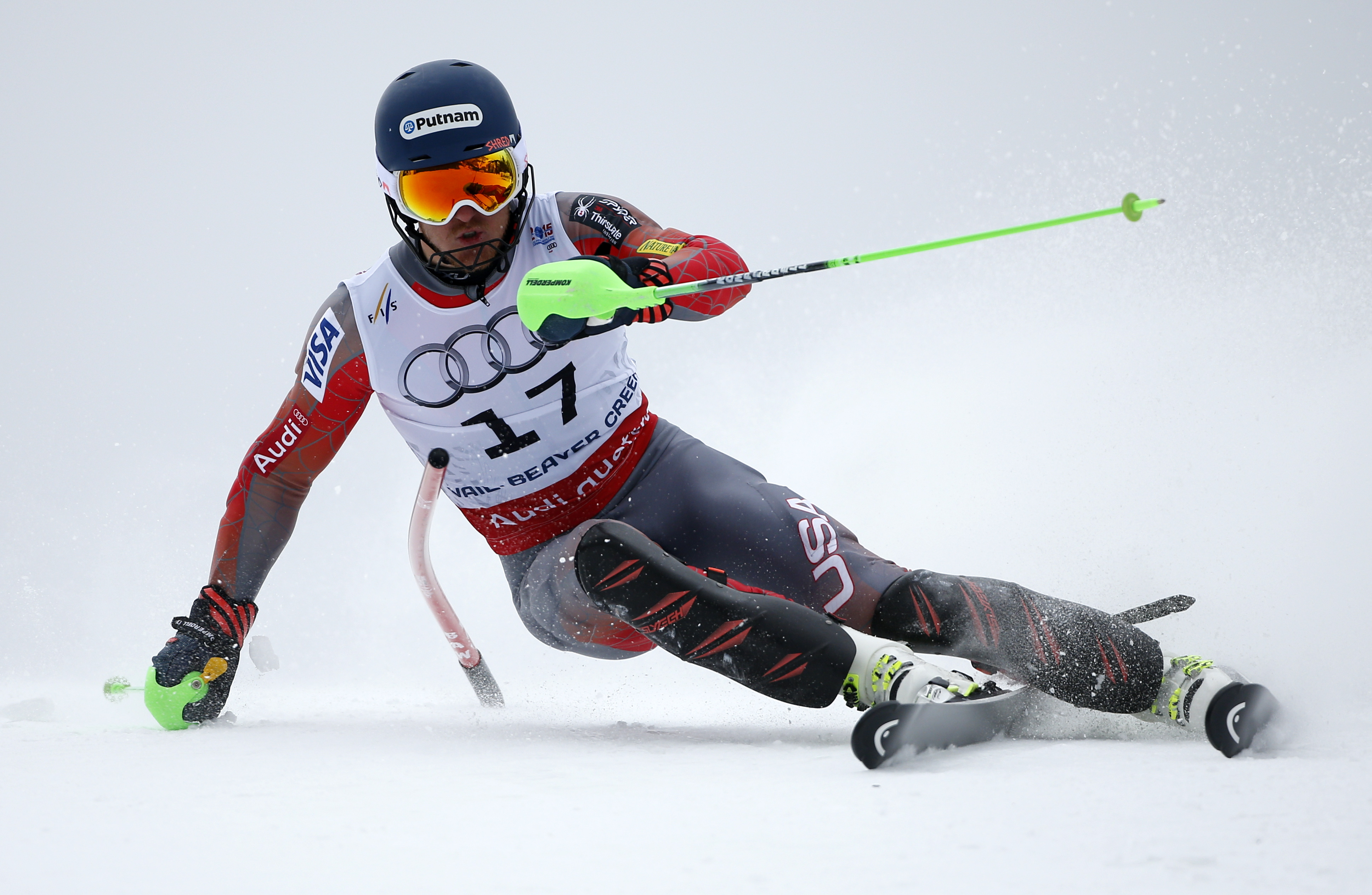 Photo: Ted Ligity racing in the FIS world championship slalom