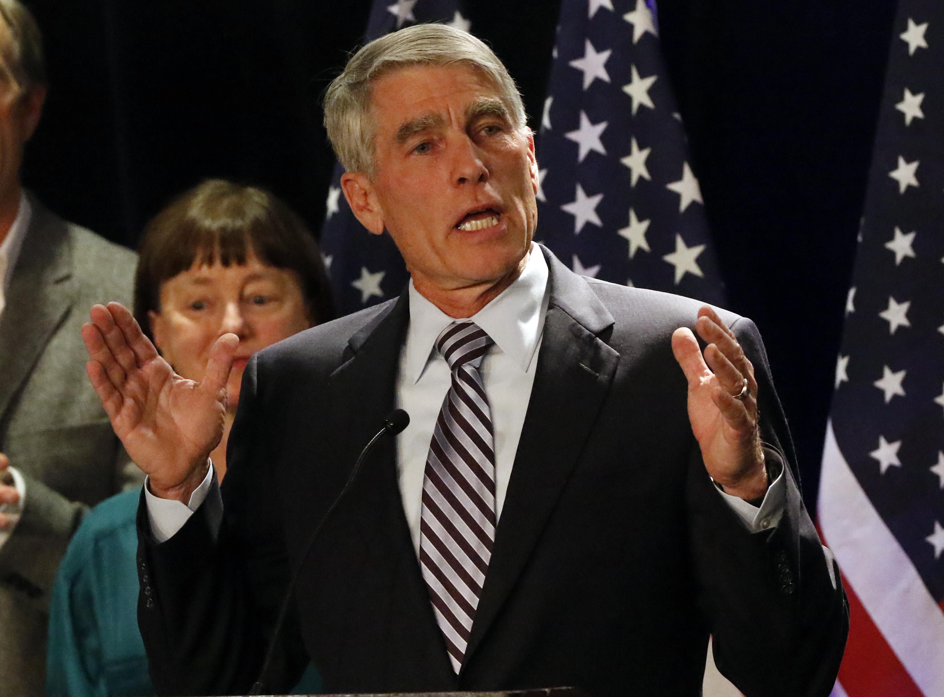 Photo: Sen. Mark Udall's concession speech (AP Photo)