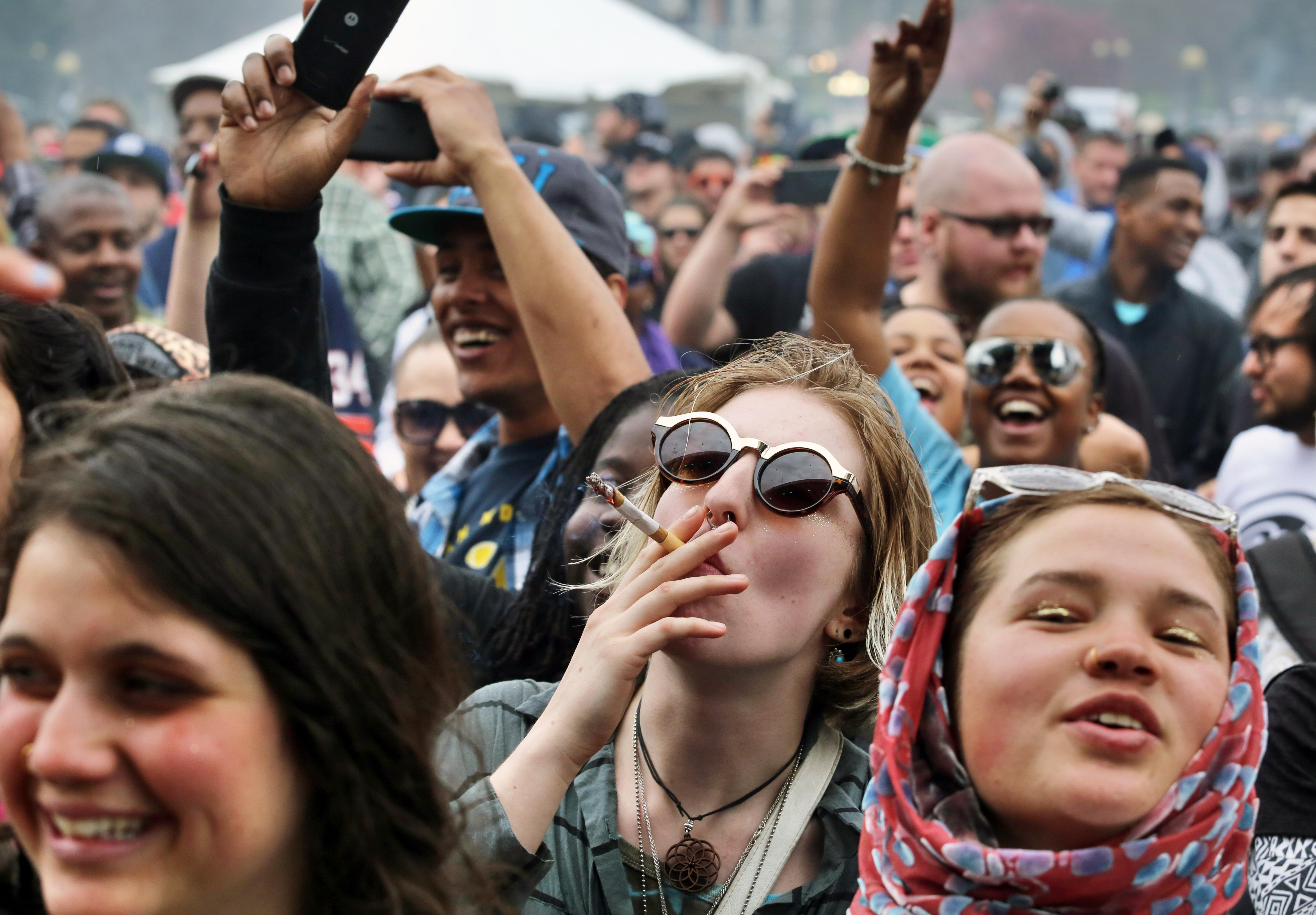 Photo: Smoking marijuana in public (AP Photo)