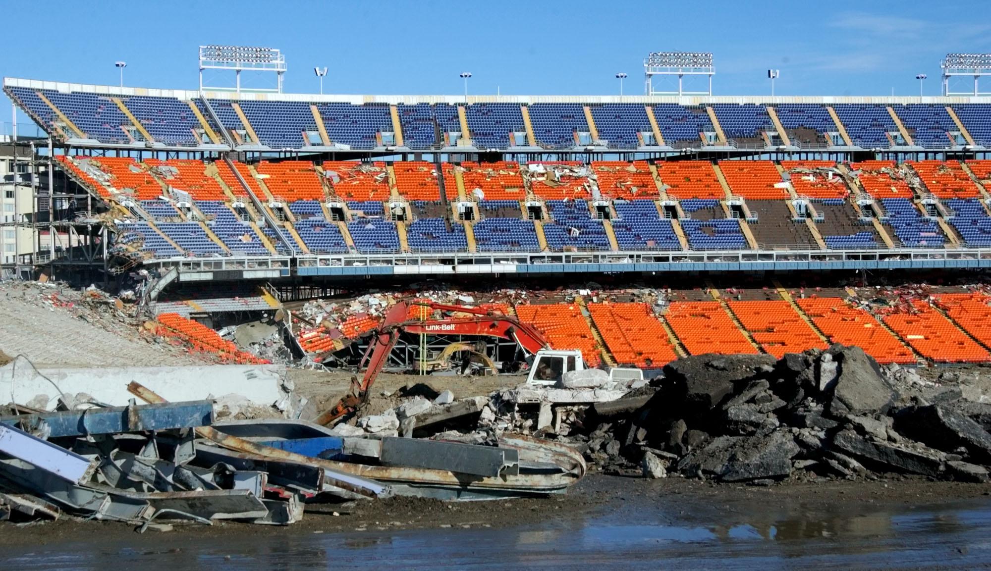 Photo: Mile High Stadium demolition, 2002 (AP Photo)