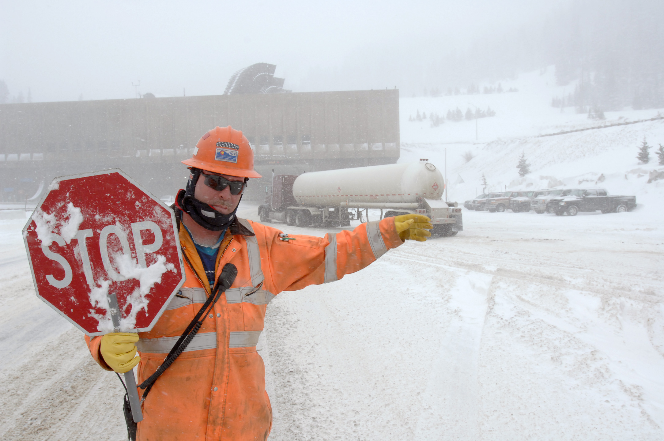 Photo: Eisenhower Tunnel hazardous materials truck | AP Photo