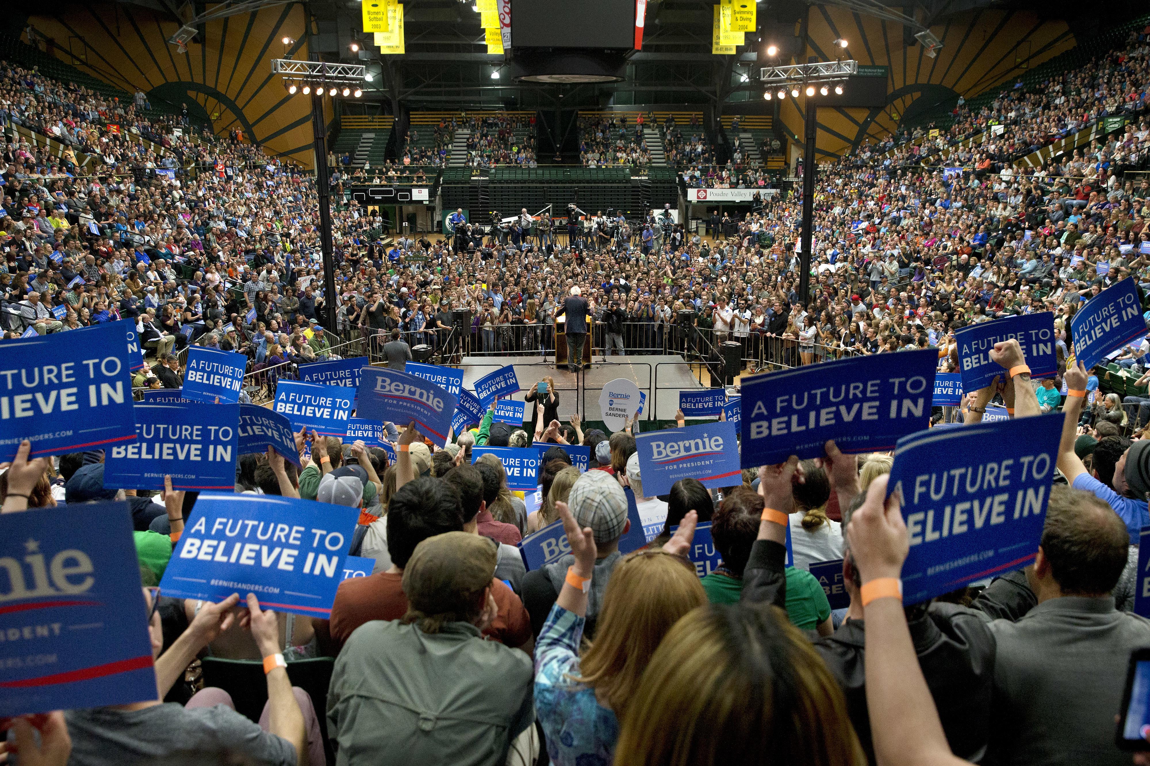Photo: Bernie Sanders in Fort Collins Feb 2016 (AP Photo)