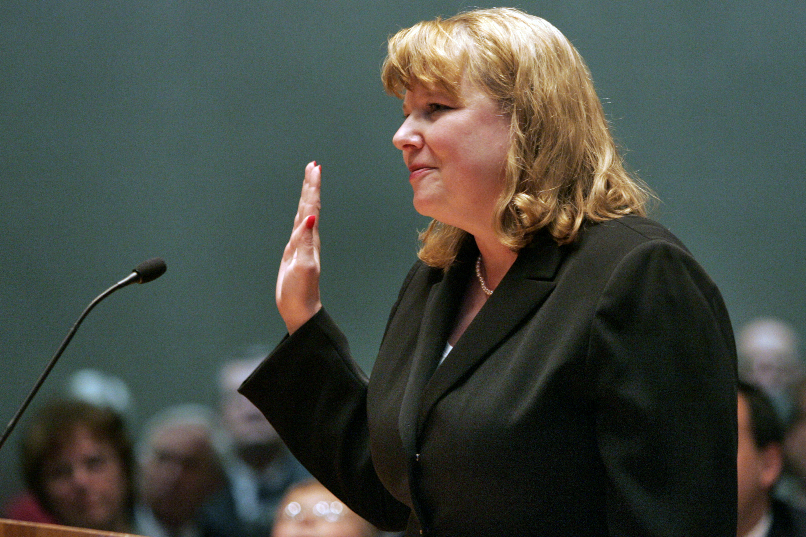 Photo: Allison Eidis sworn in as chief justice of the Colorado Supreme Court in Denver, Monday, March 13, 2006