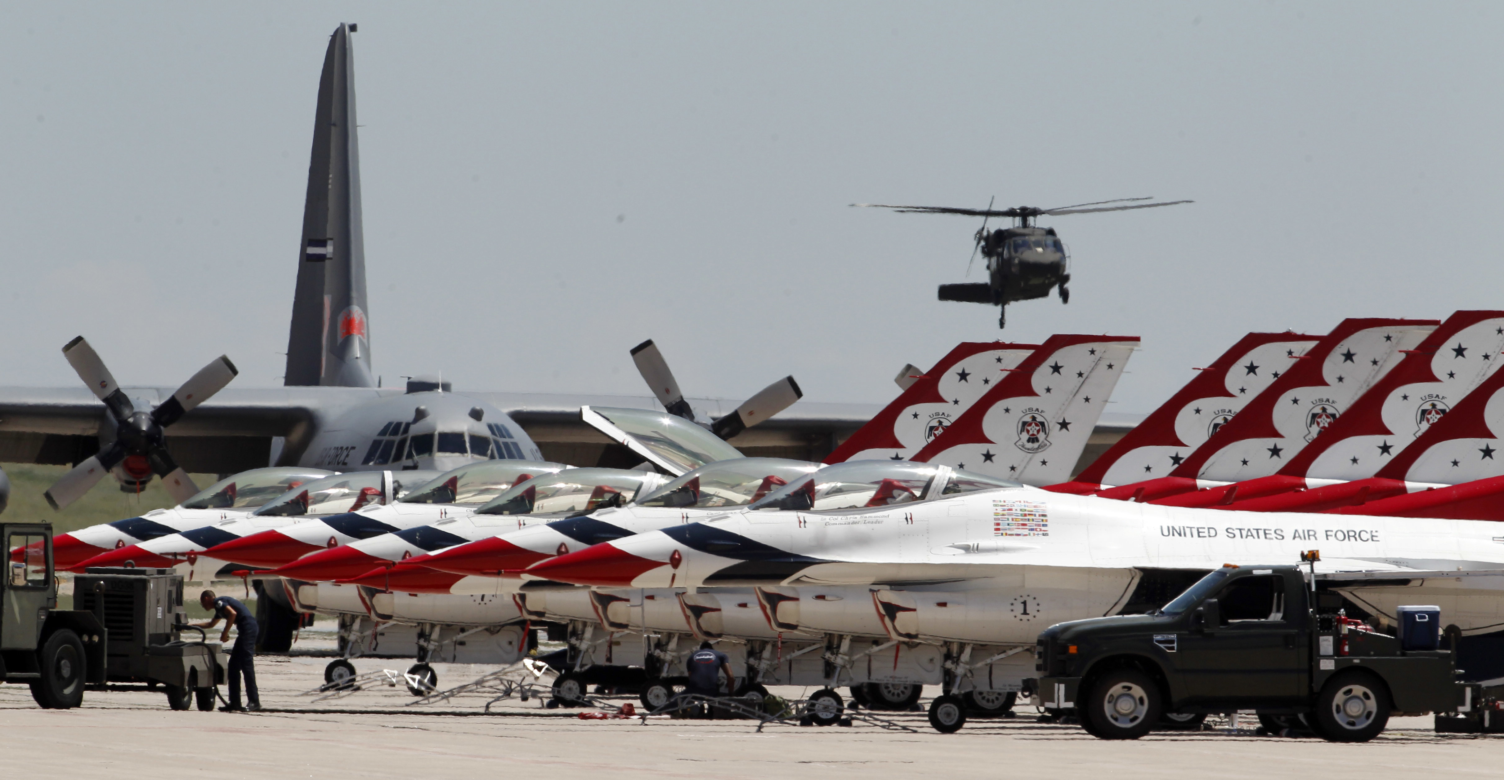 Photo: Thunderbirds line up at Peterson AFB