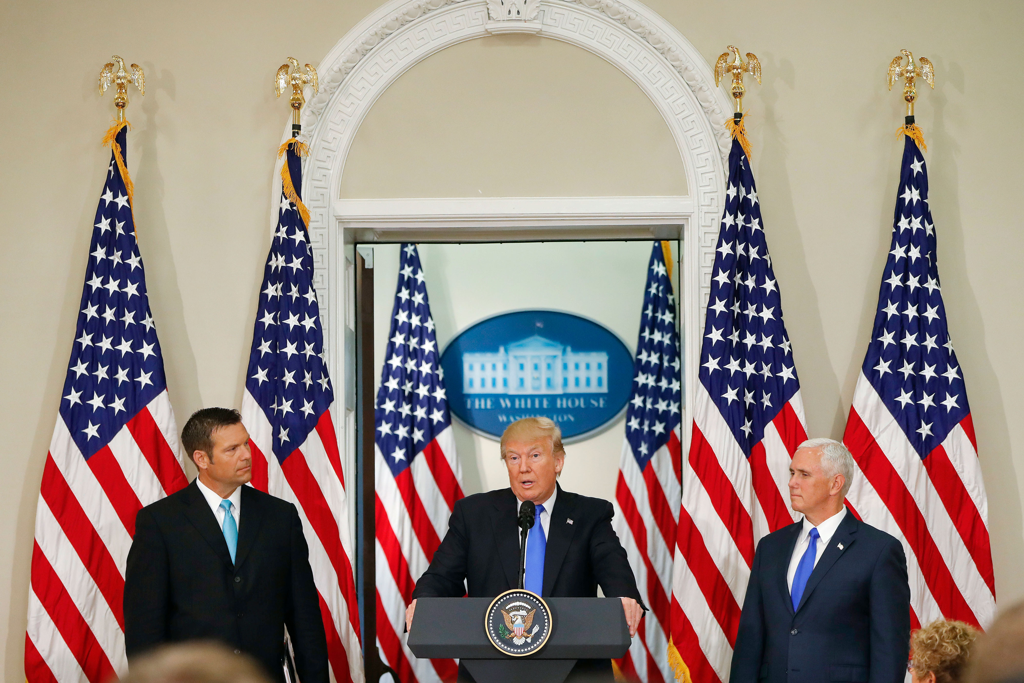 Photo: Presidential Election Integrity Commission Meeting | Kobach, Trump, Pence - AP