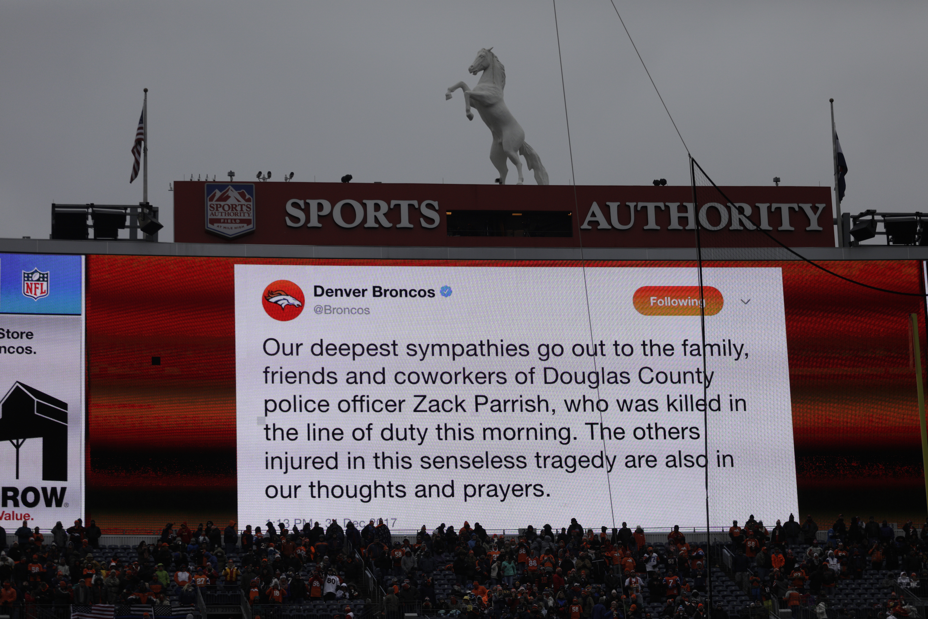 Photo: Douglas County Deputy Shot, AP Photo 4 Broncos