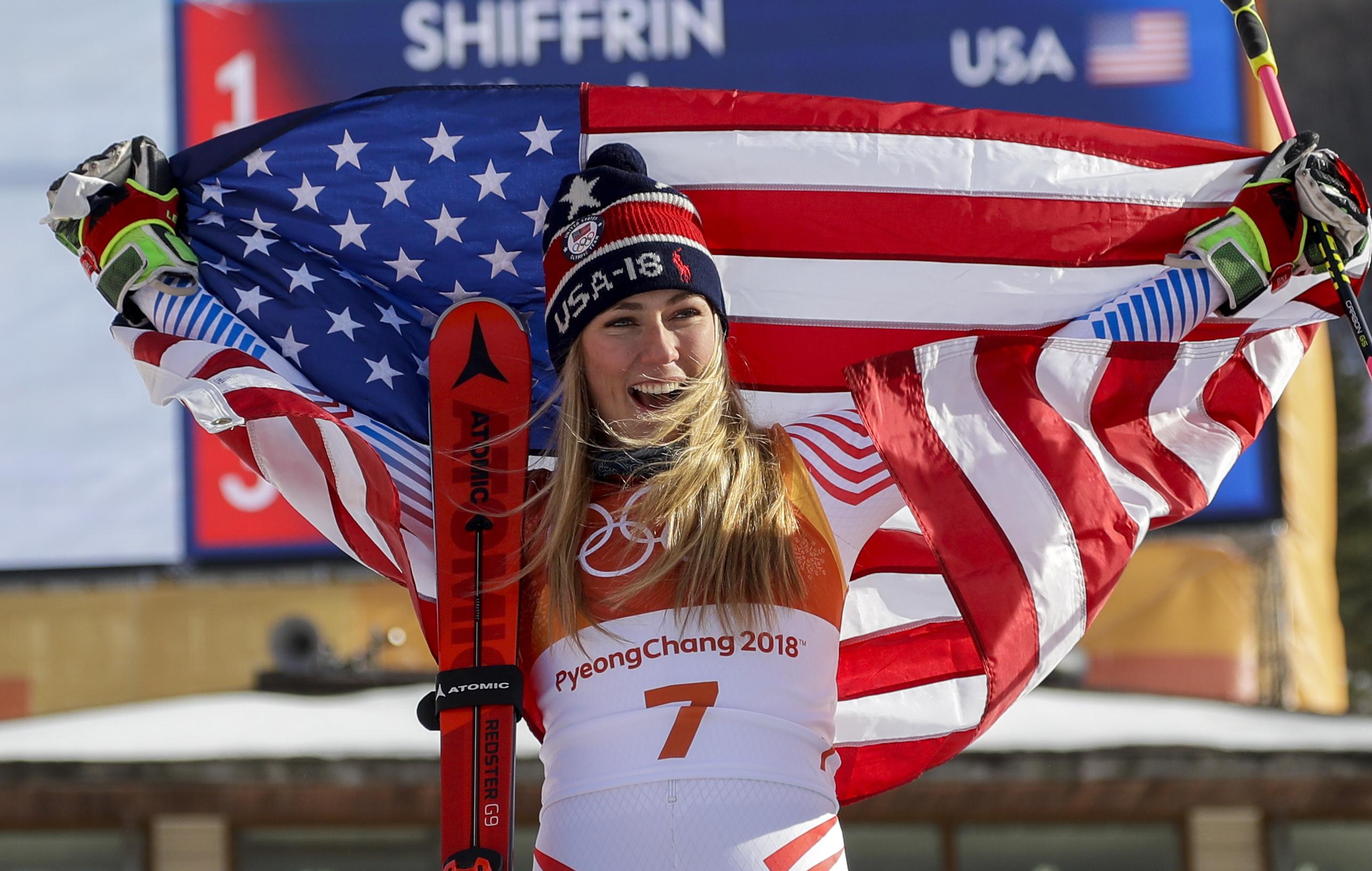 Photo: Mikaela Shiffrin Giant Slalom Podium 2018 Winter Olympics (AP)