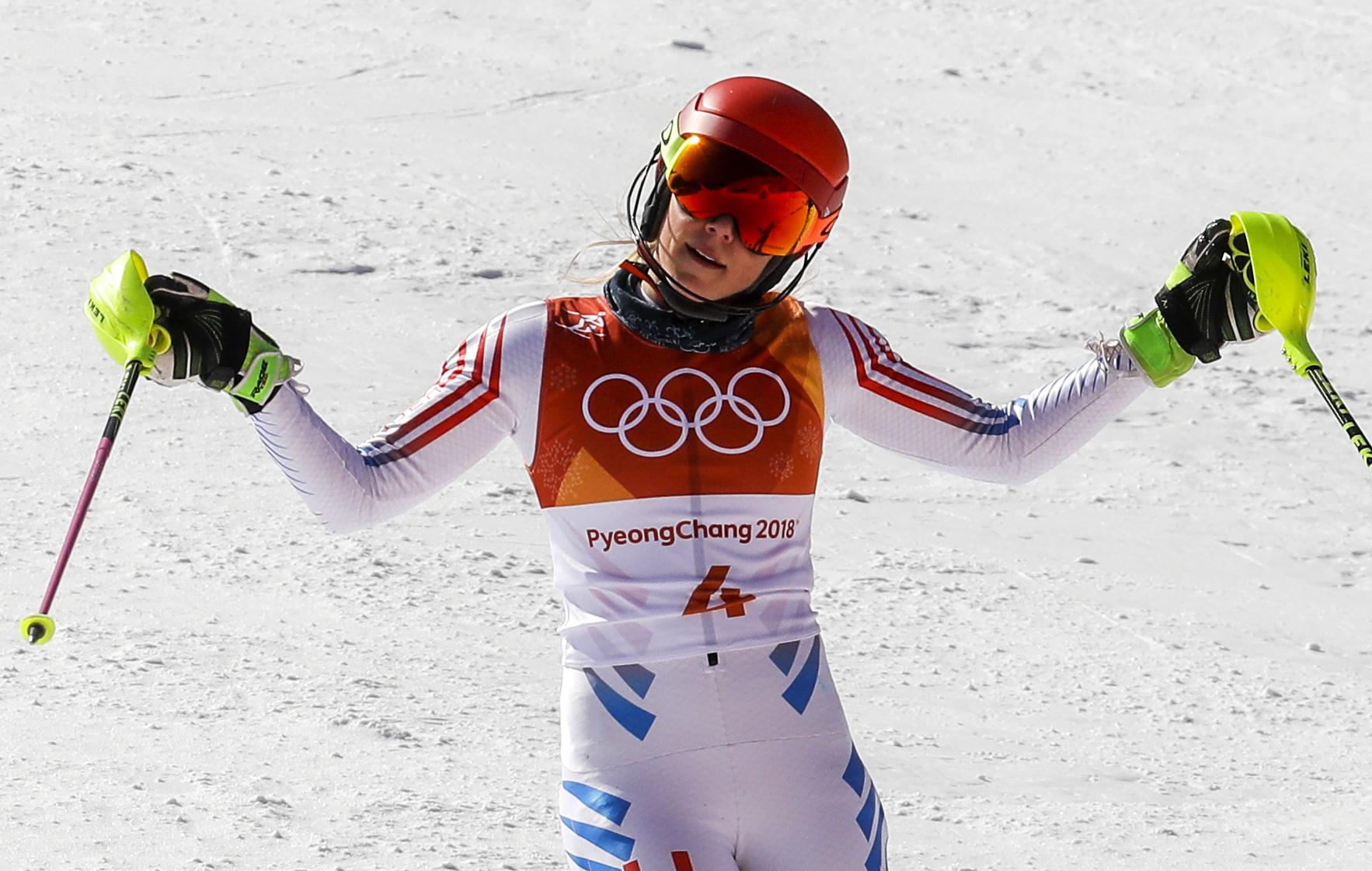 Photo: Mikaela Shiffrin Slalom 2018 Winter Olympics (AP)