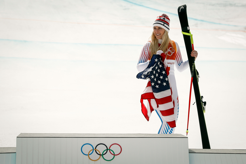 Photo: Pyeongchange Olympics Alpine Skiing | Vonn Podium - AP