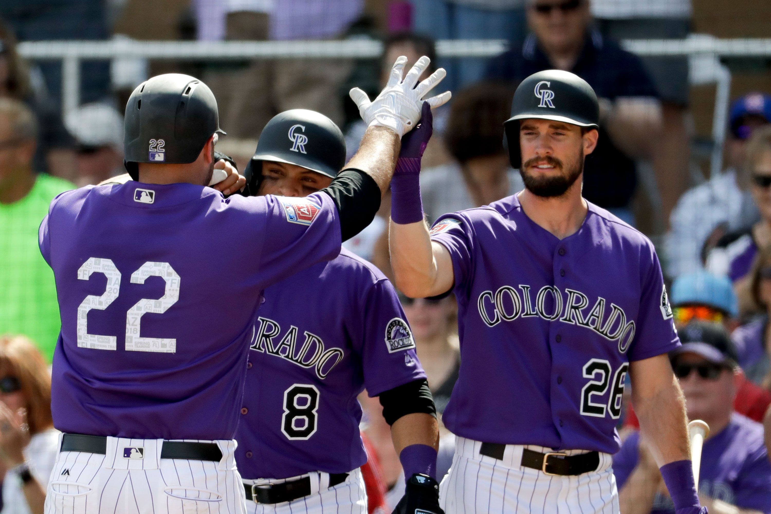Photo: Rockies Spring Ball High Five - AP