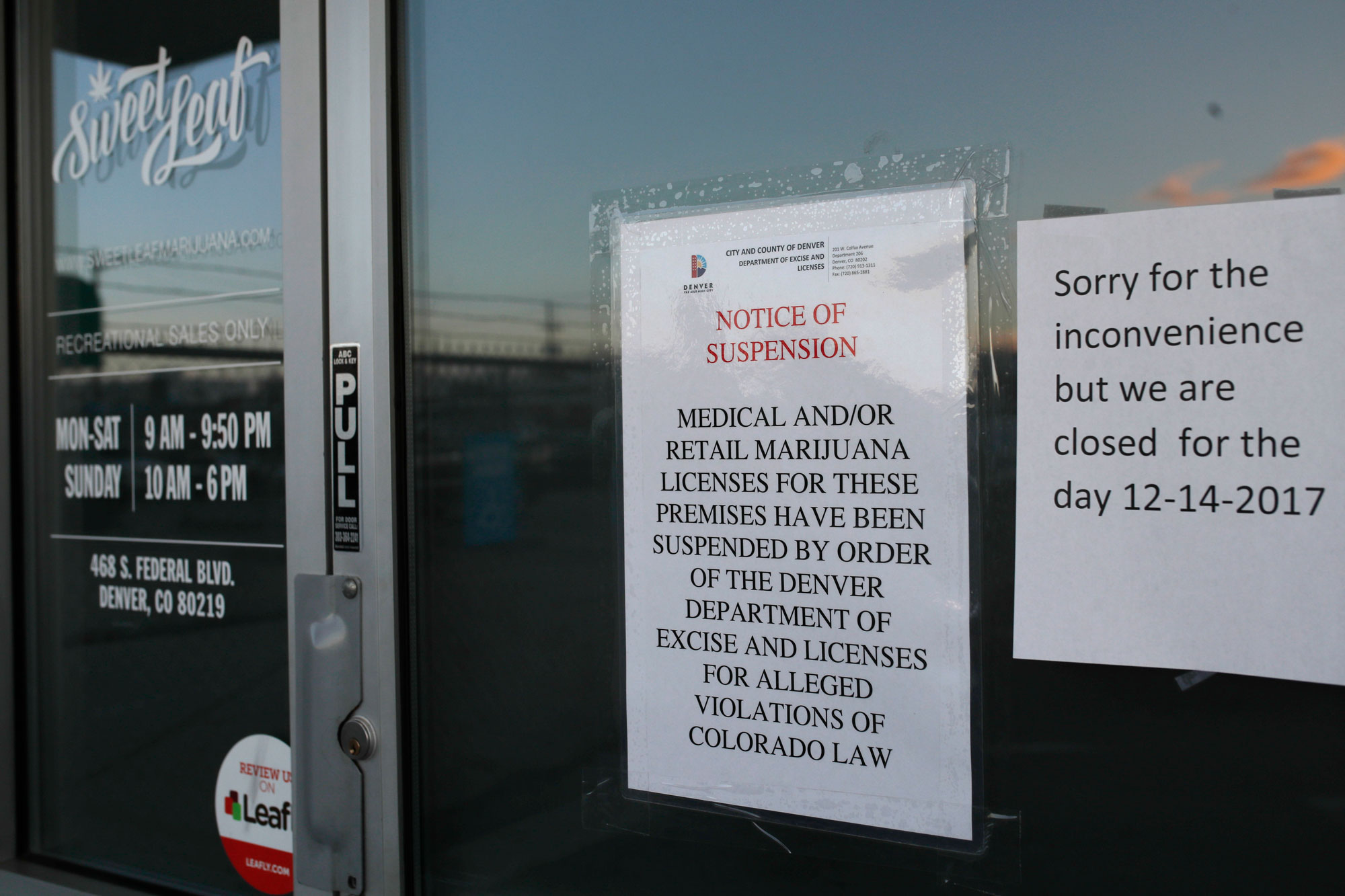 Photo: Sweet Leaf Marijuana Business Closed Signs