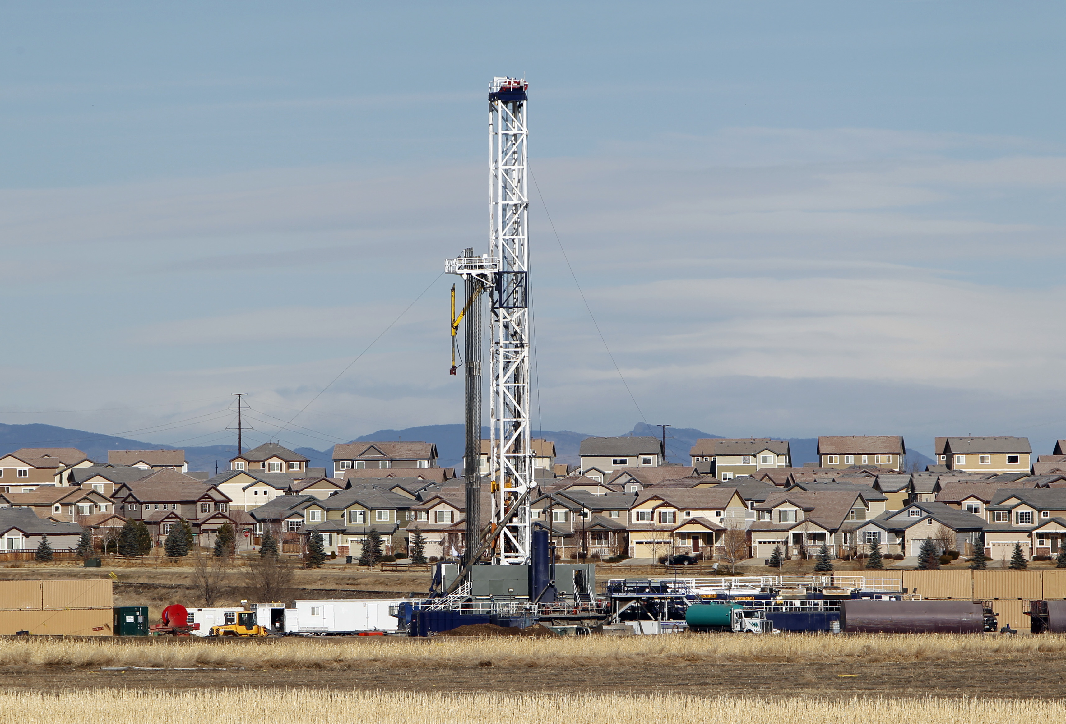 Photo: Oil well near subdivision in Frederick (AP Photo)