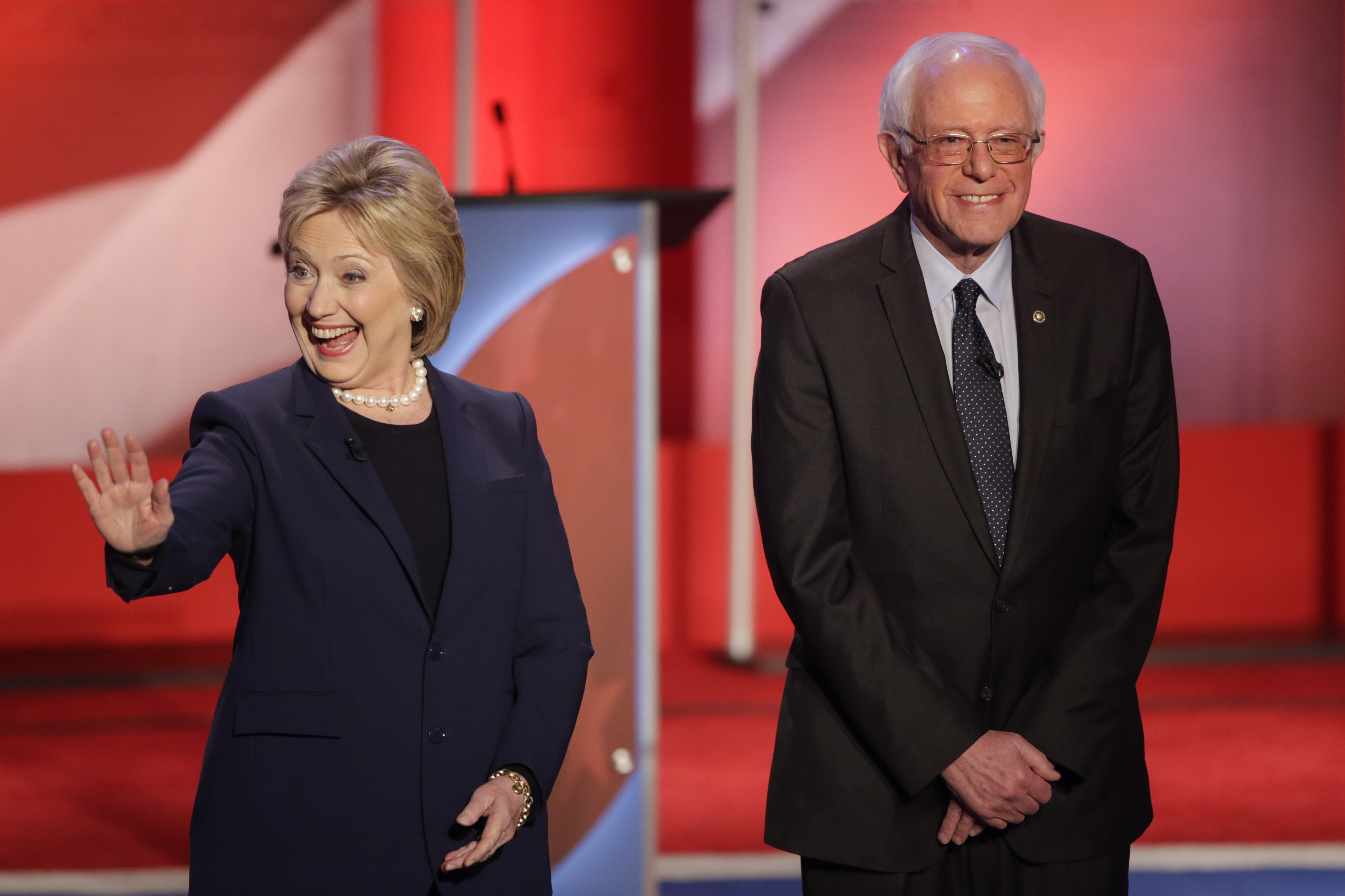 Photo: Hillary Clinton, Bernie Sanders Feb 2016 (AP Photo)